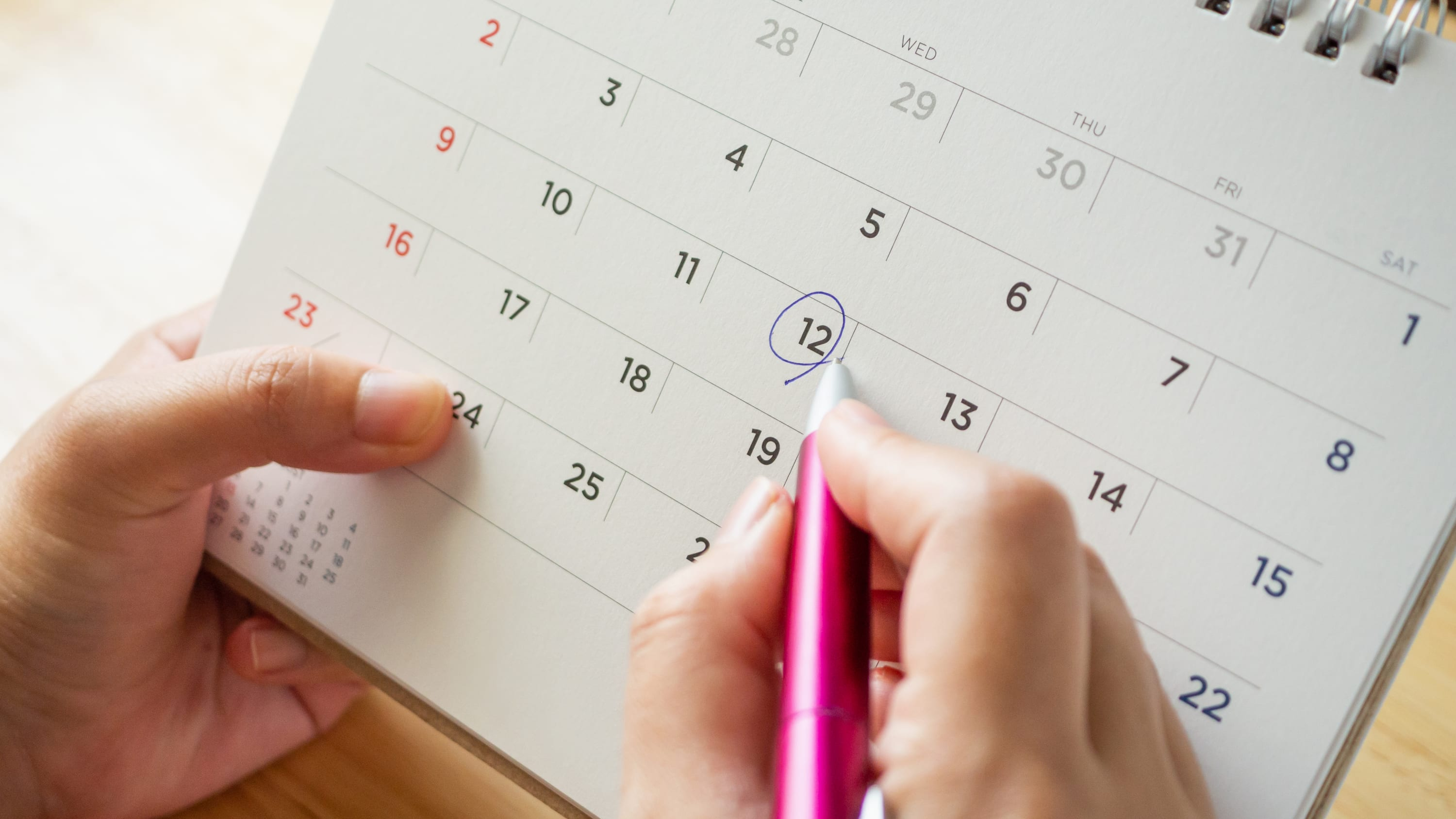 marking the calendar, for delayed infertility treatments