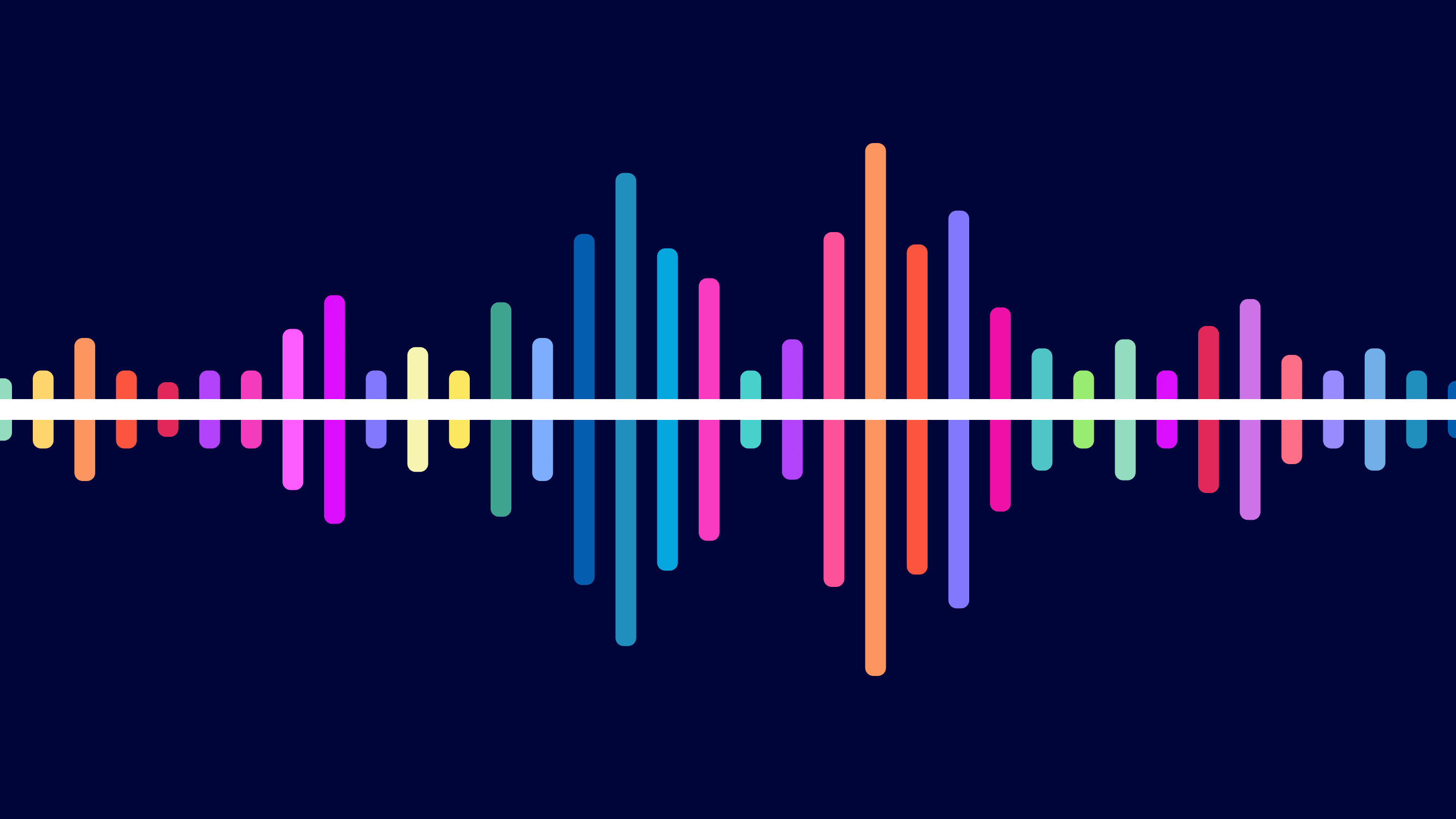 Colorful sound wave illustration, representing remote cochlear implant programming