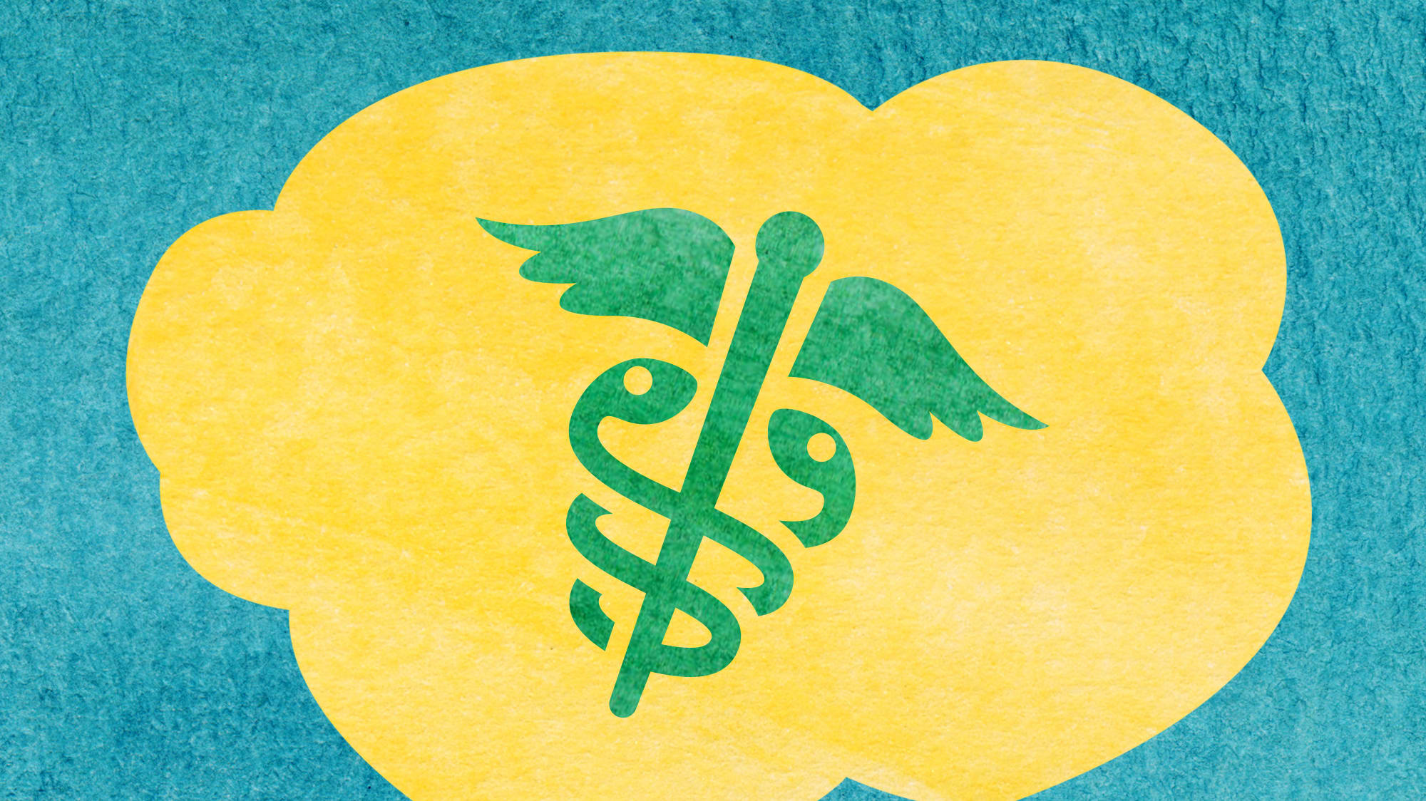 watercolor illustration of a yellow speech bubble with caduceus inside against a teal background