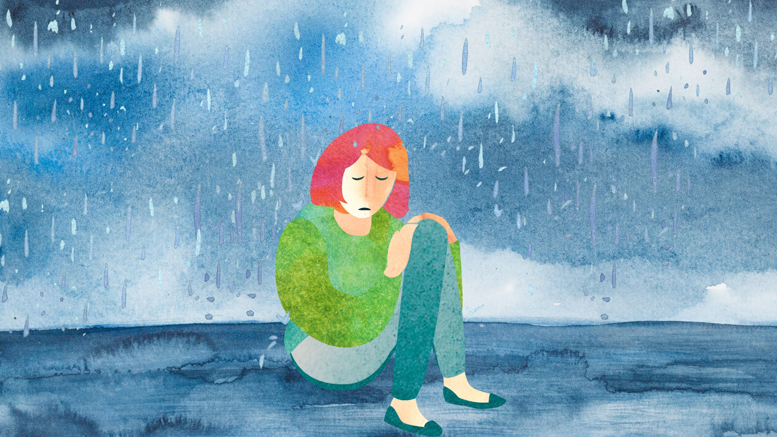 An illustration of a woman suffering from depression who might be helped by esketamine