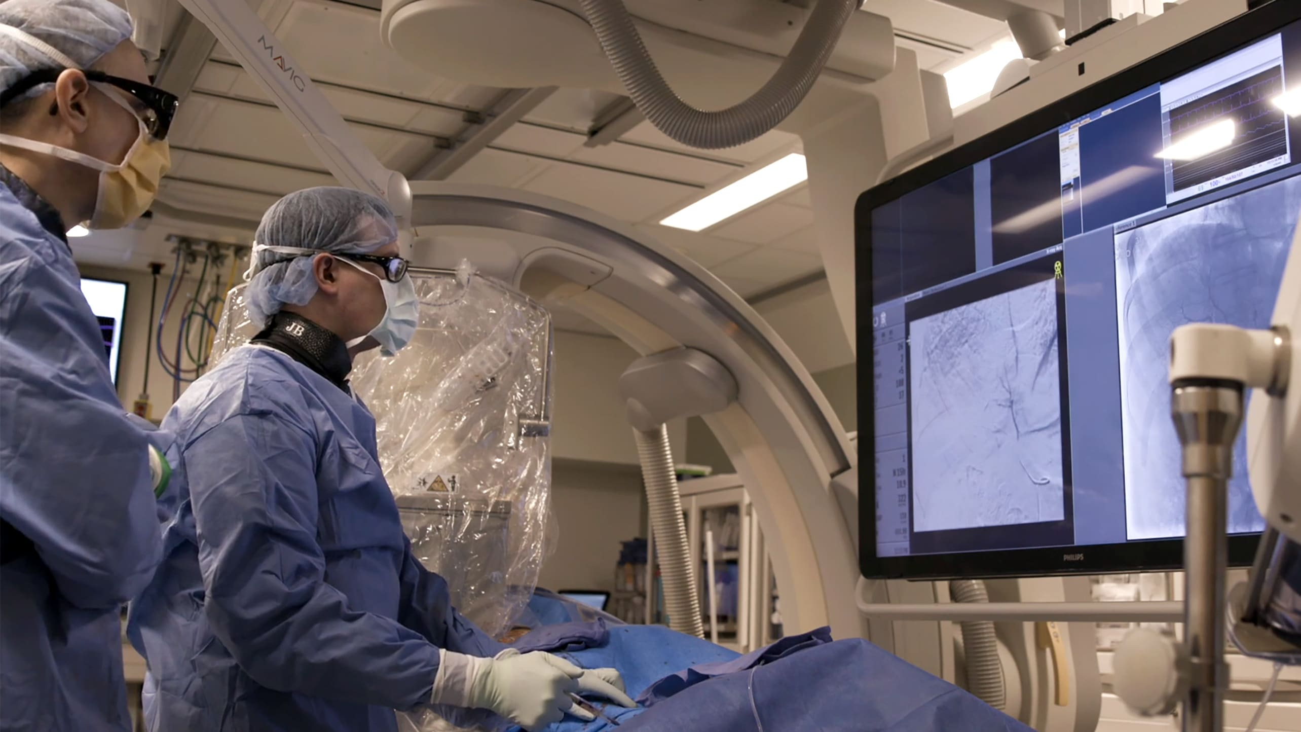Interventional radiologist perform an interventional oncology procedure.