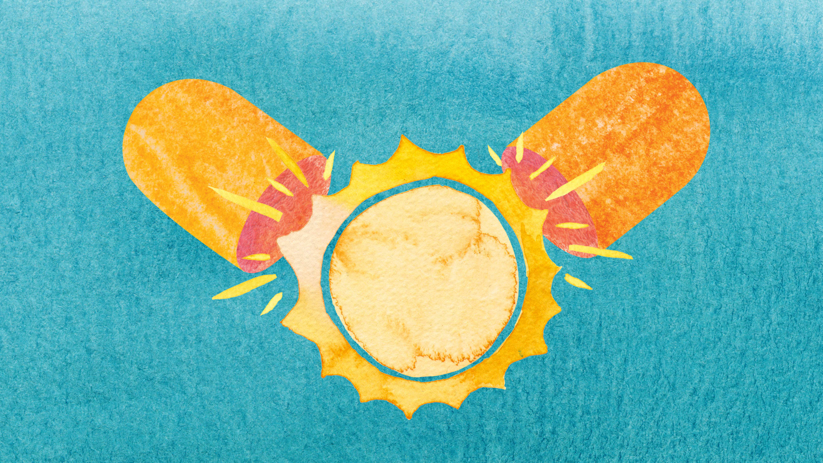Artwork depicting sun in a capsule, representing Vitamin D