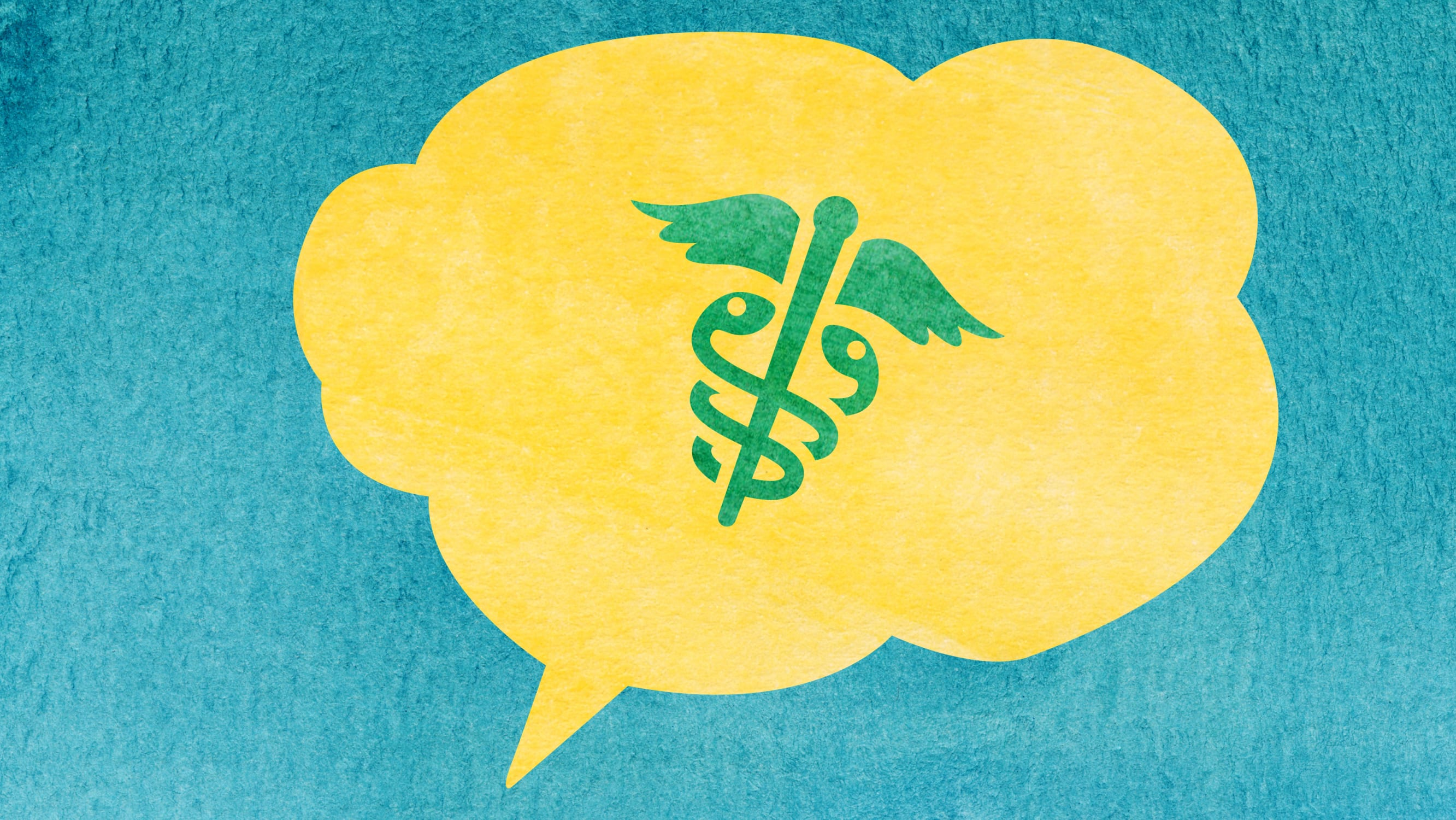watercolor illustration of a yellow speech bubble with caduceus inside on a teal background
