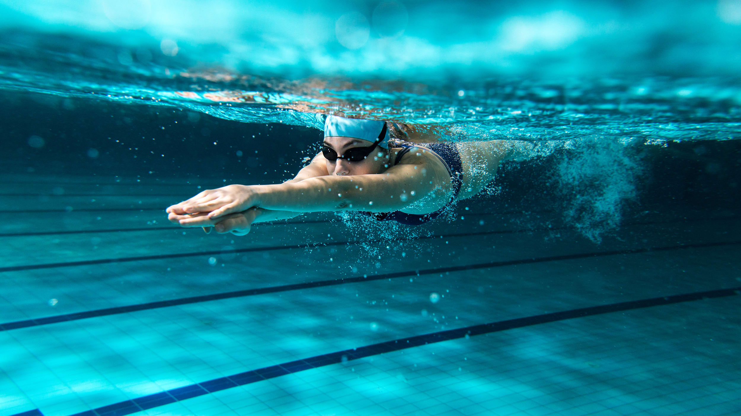 Female athlete swimmer in a pool