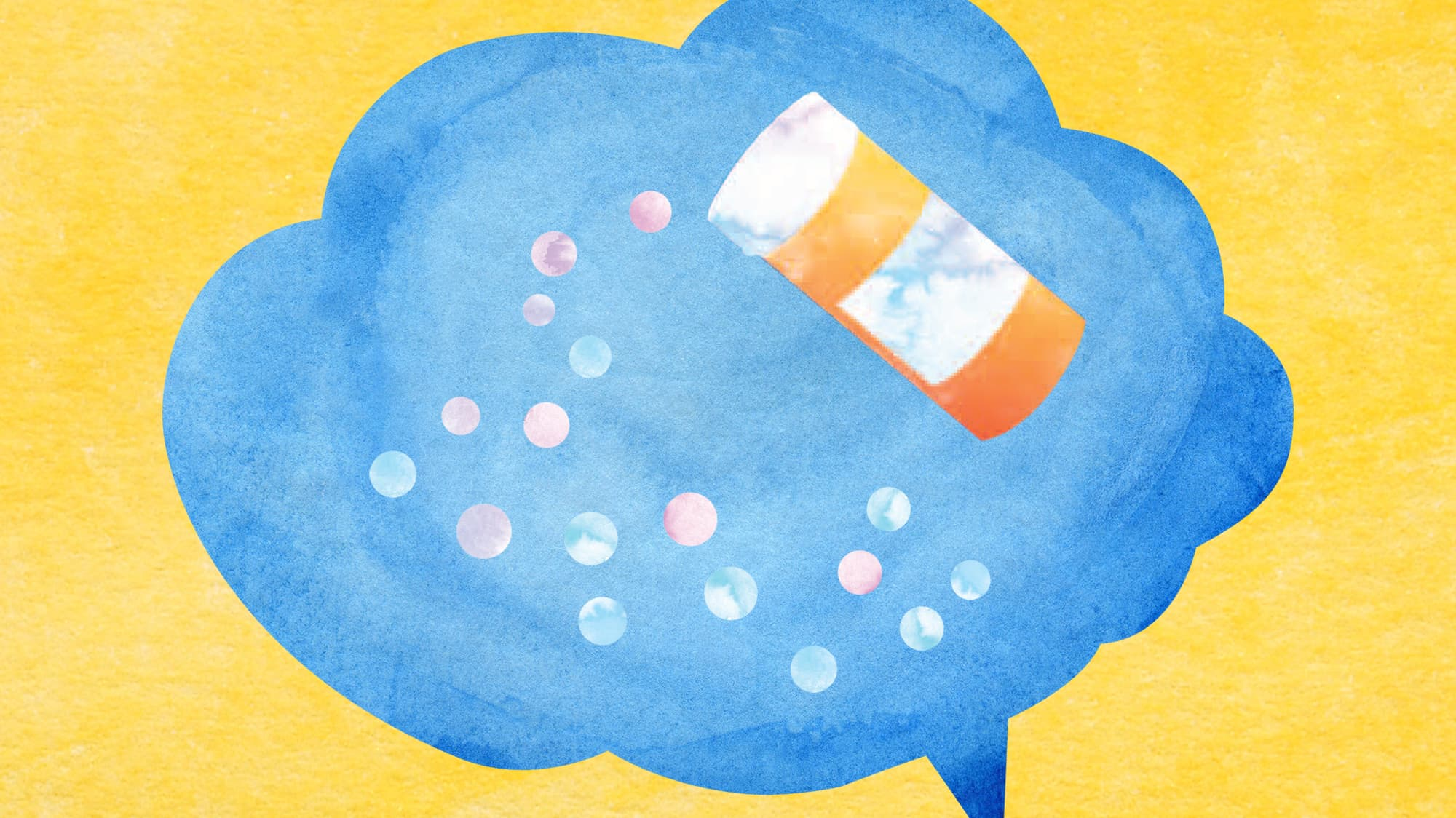 An illustration of a blue speech bubble with a prescription bottle and pills inside it.