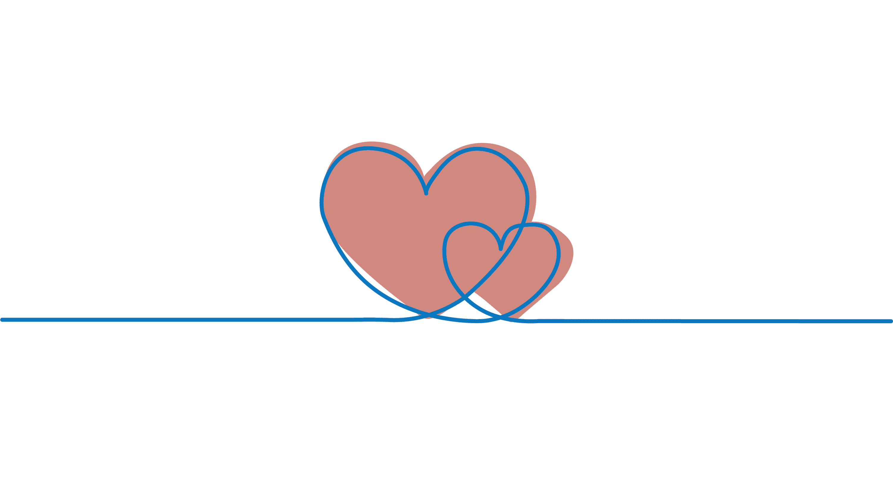 Twin hearts line drawing
