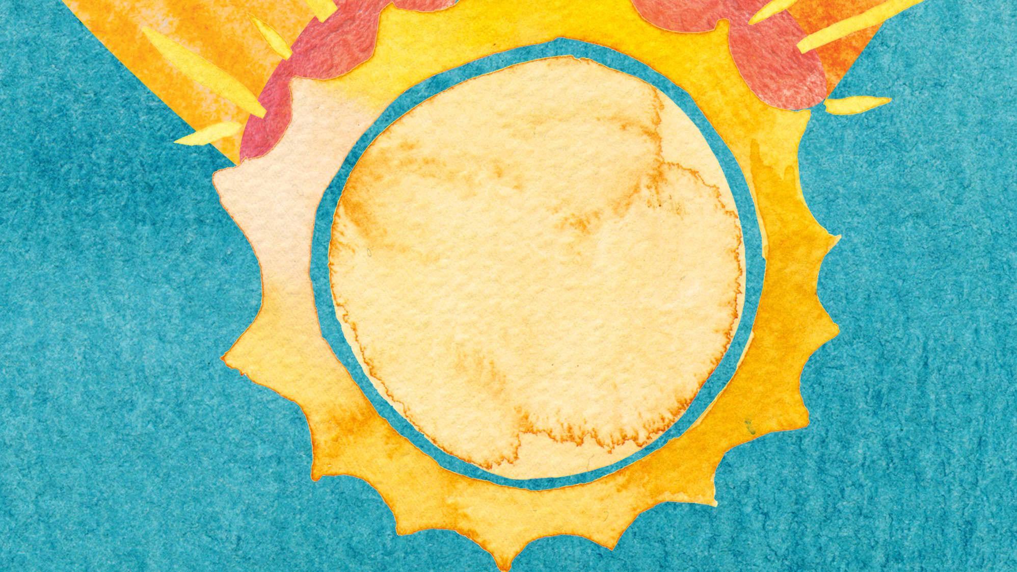 Artwork depicting sun in a capsule, representing vitamin D