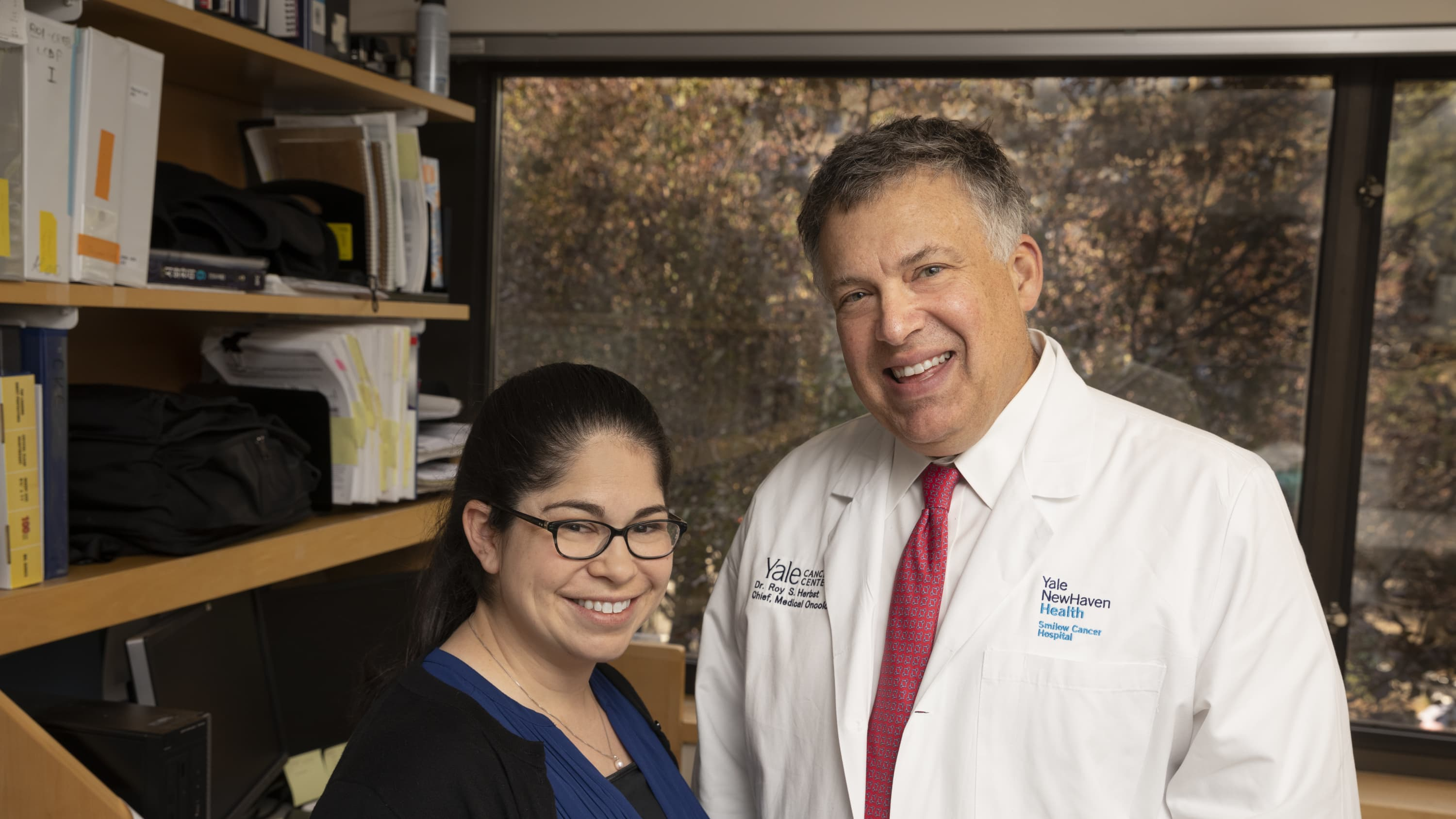 Dr. Herbst with Dr. Doroshow discussing immunotherapy for NSCLC