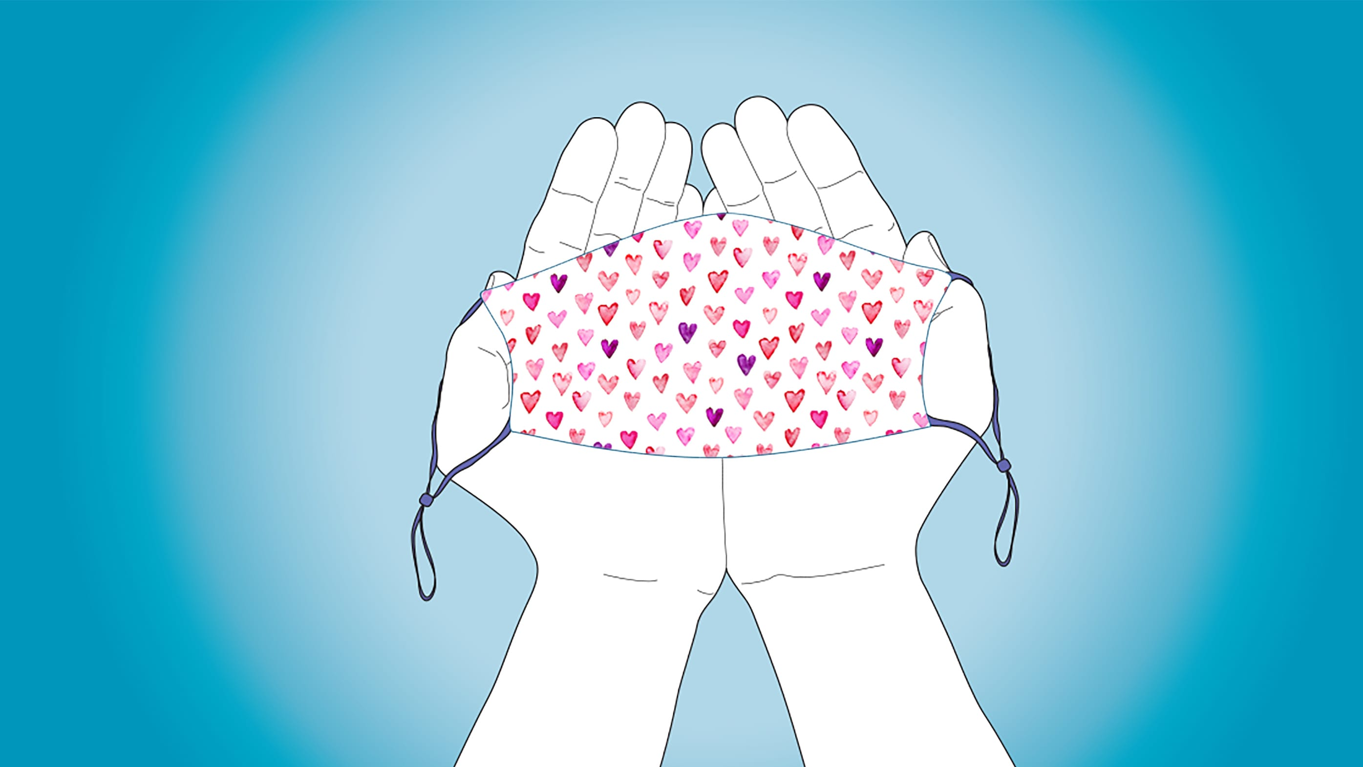 illustration of hands holding a mask with a heart pattern on it