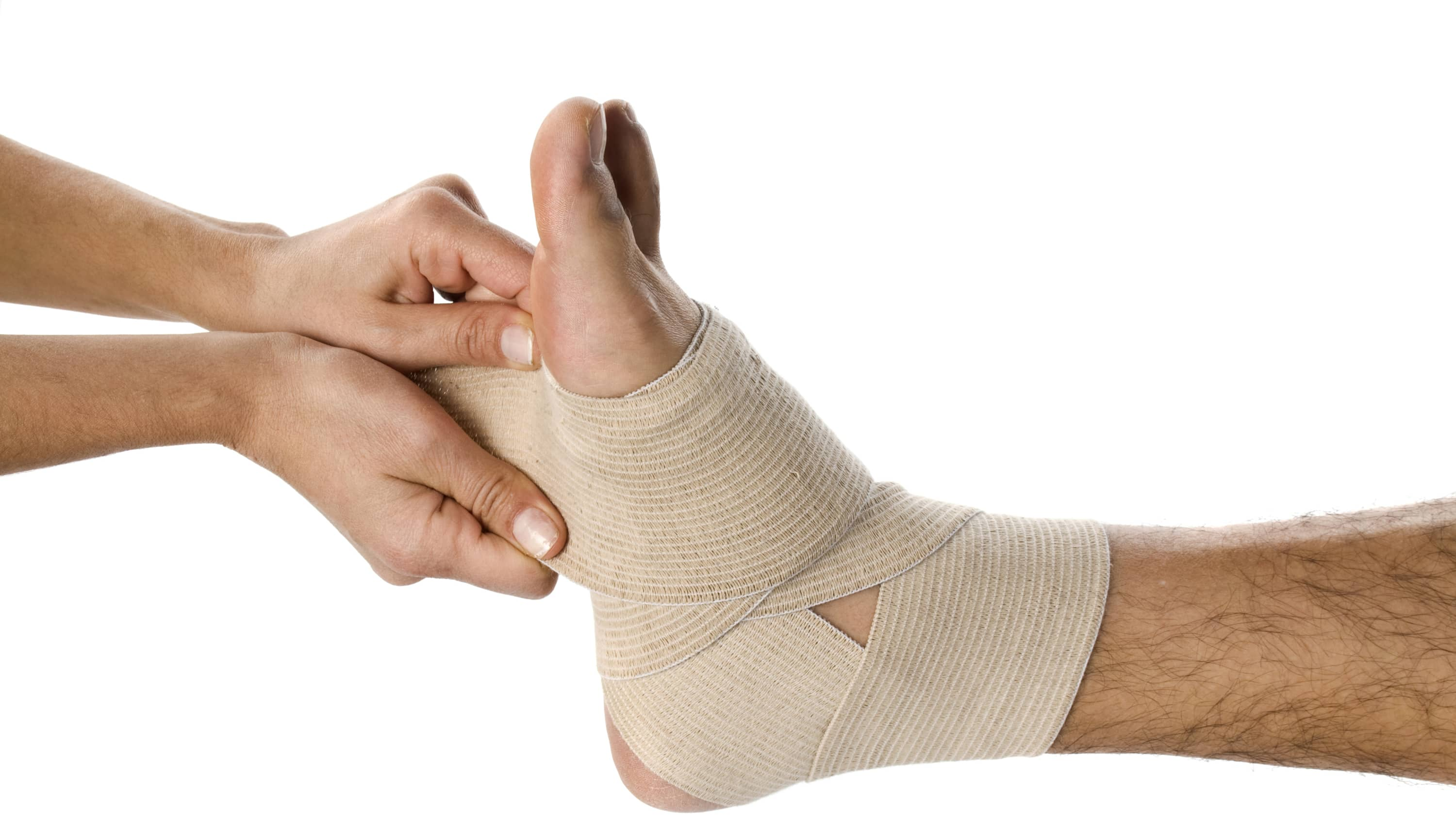 a foot wrapped in bandage, possibly from a stress fracture