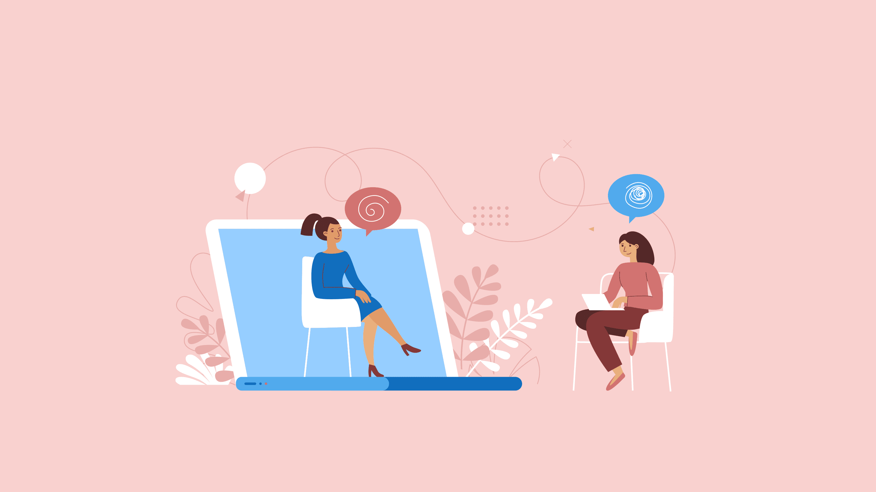 An illustration of patient talking to a therapist from her computer.