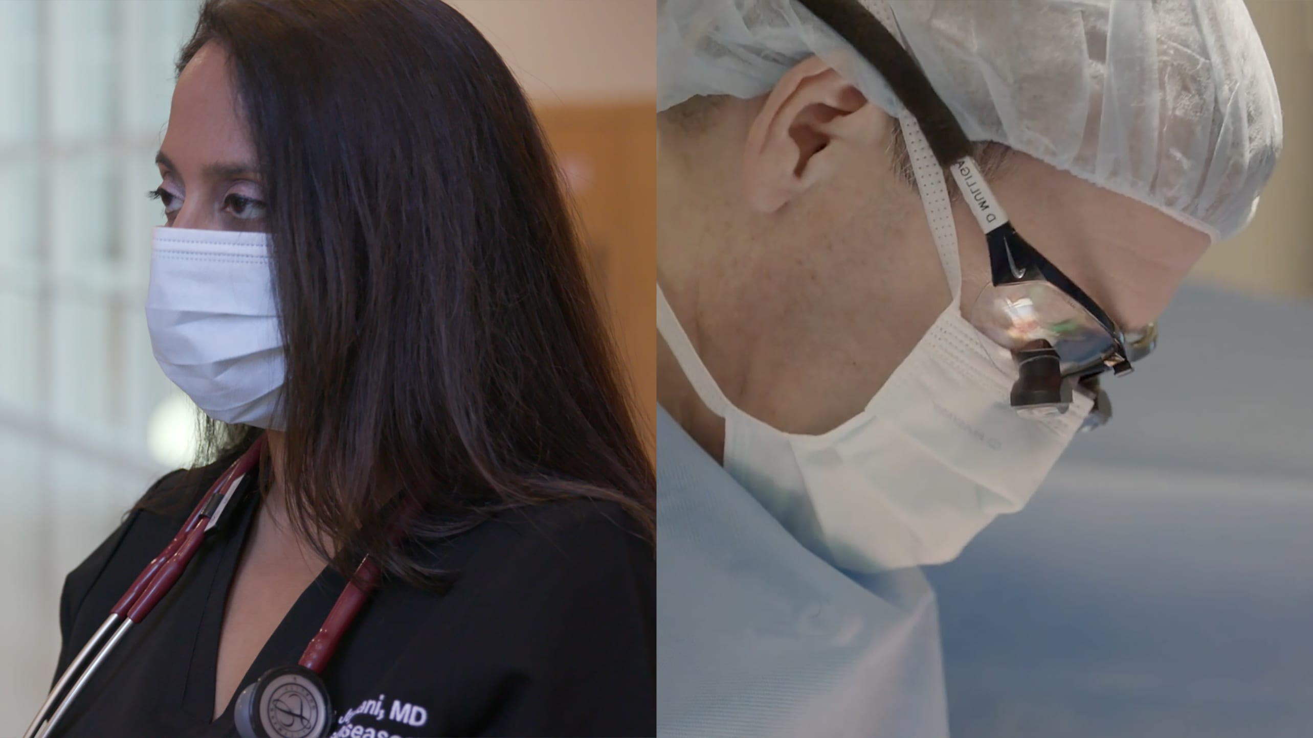 A split screen of a surgeon operating and a doctor speaking to someone with a mask on.