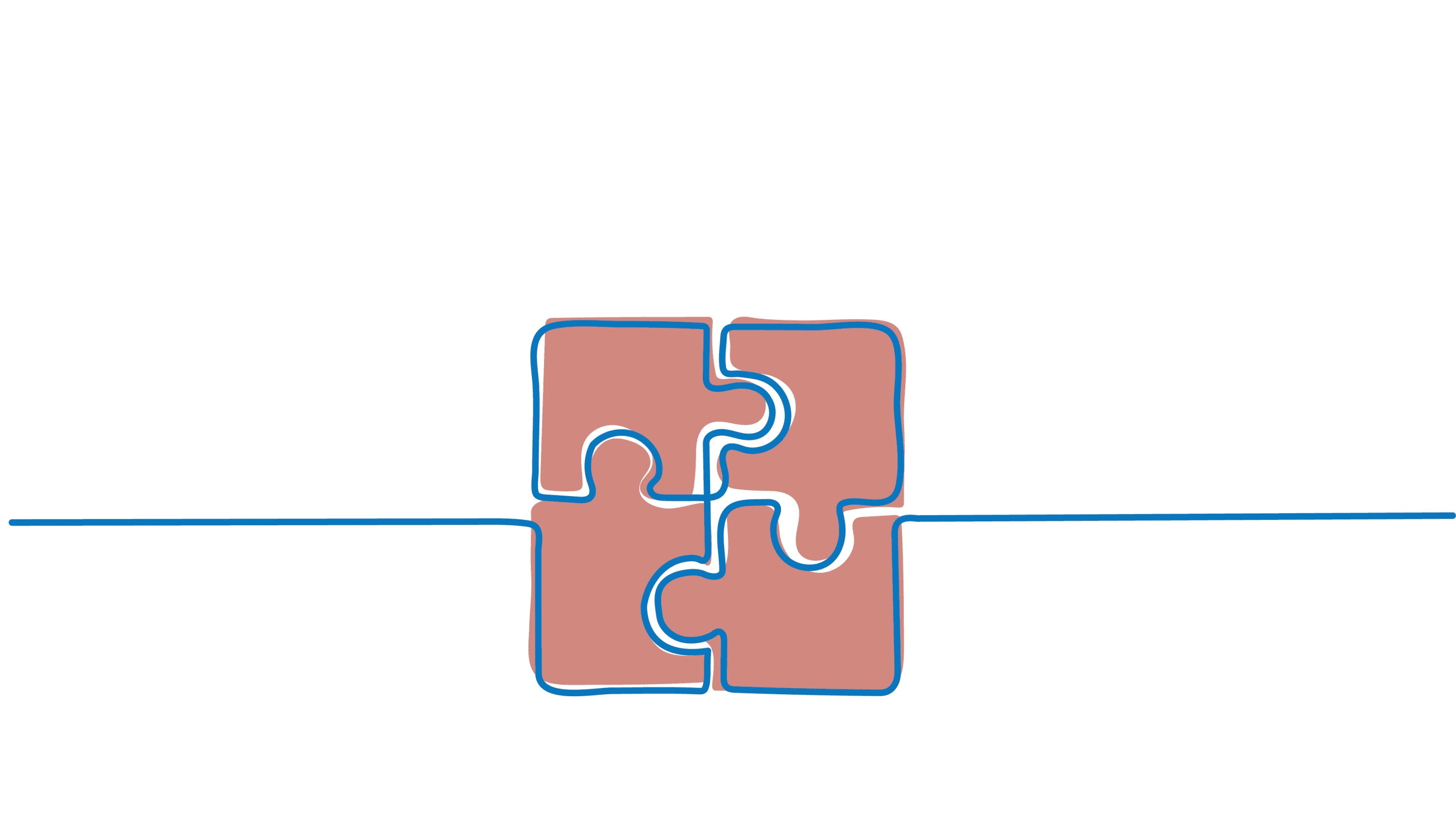 Line drawing of puzzle pieces fitting together