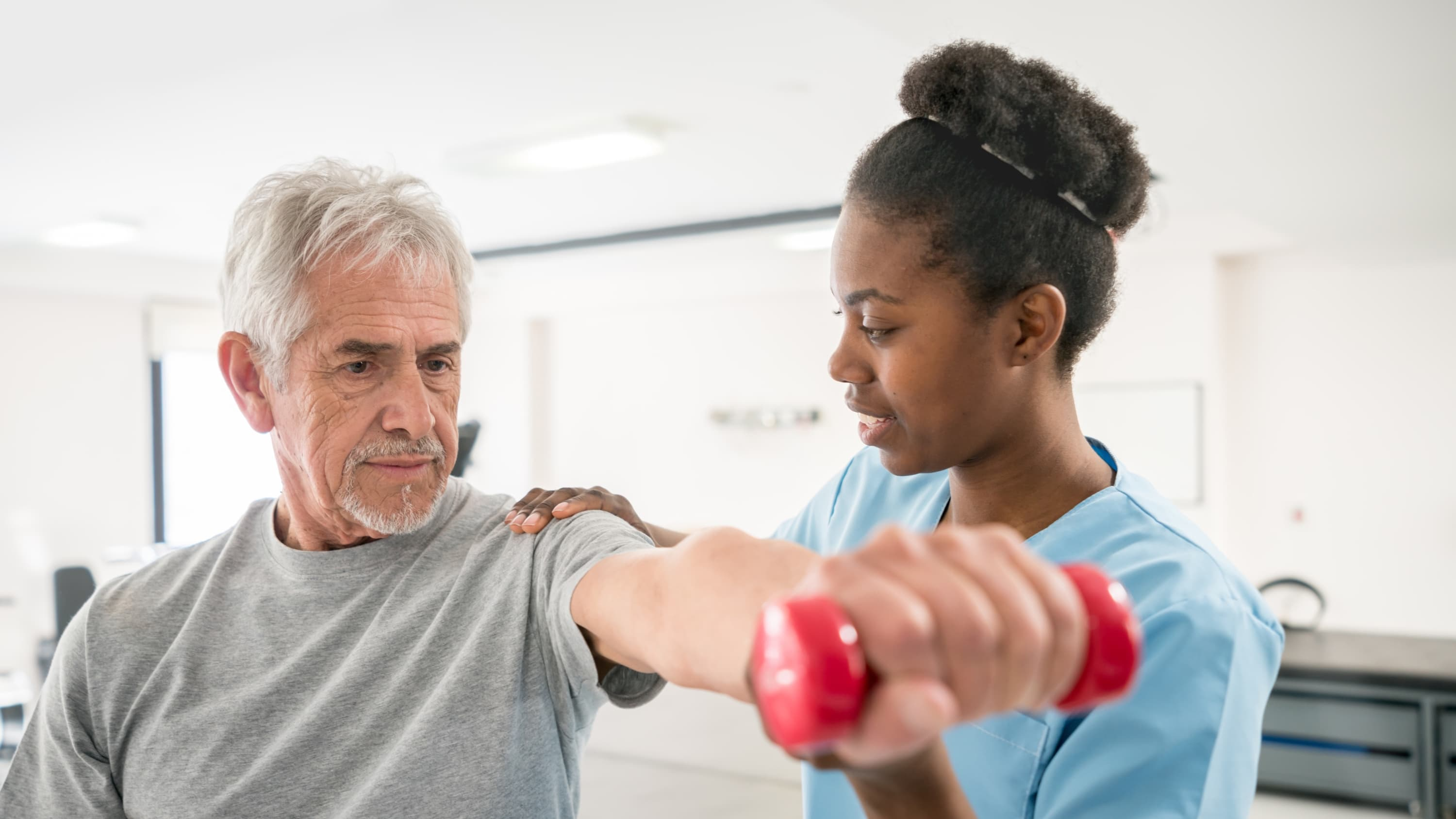 man undergoing  cardiac rehabilitation