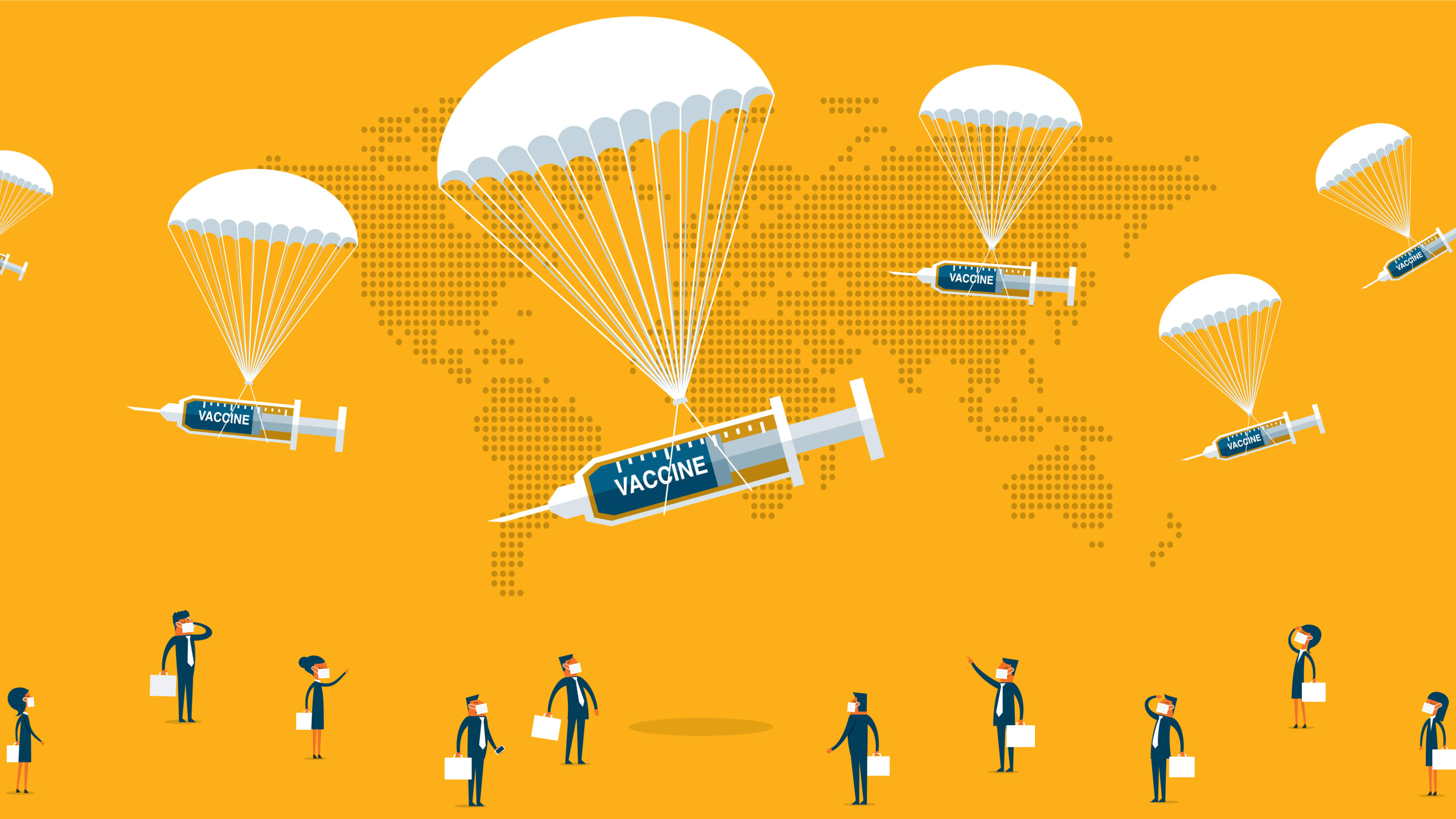 an illustration image of parachuting covid-19 vaccines dropping from the sky to recipients below