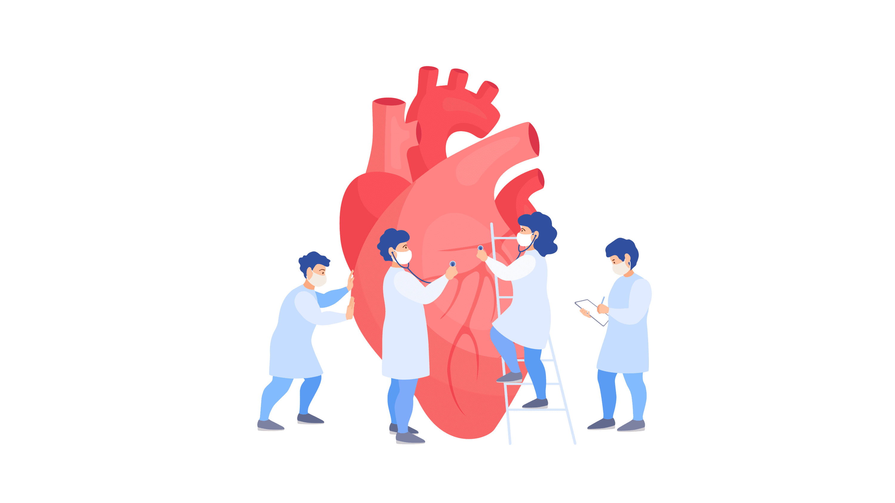 illustration of doctors checking a heart