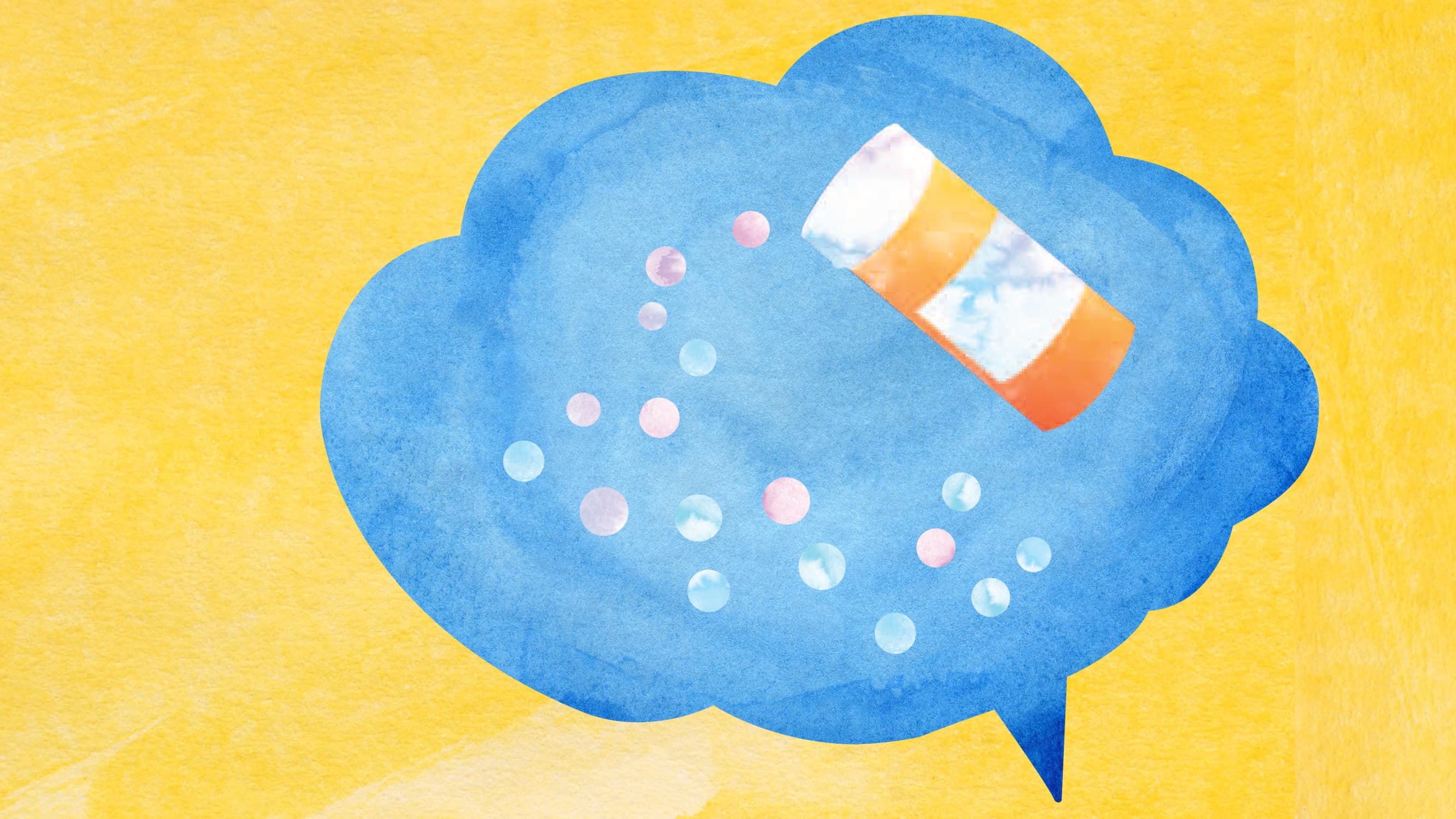 An illustration of a blue speech bubble is shown with pills and a prescription bottle inside.