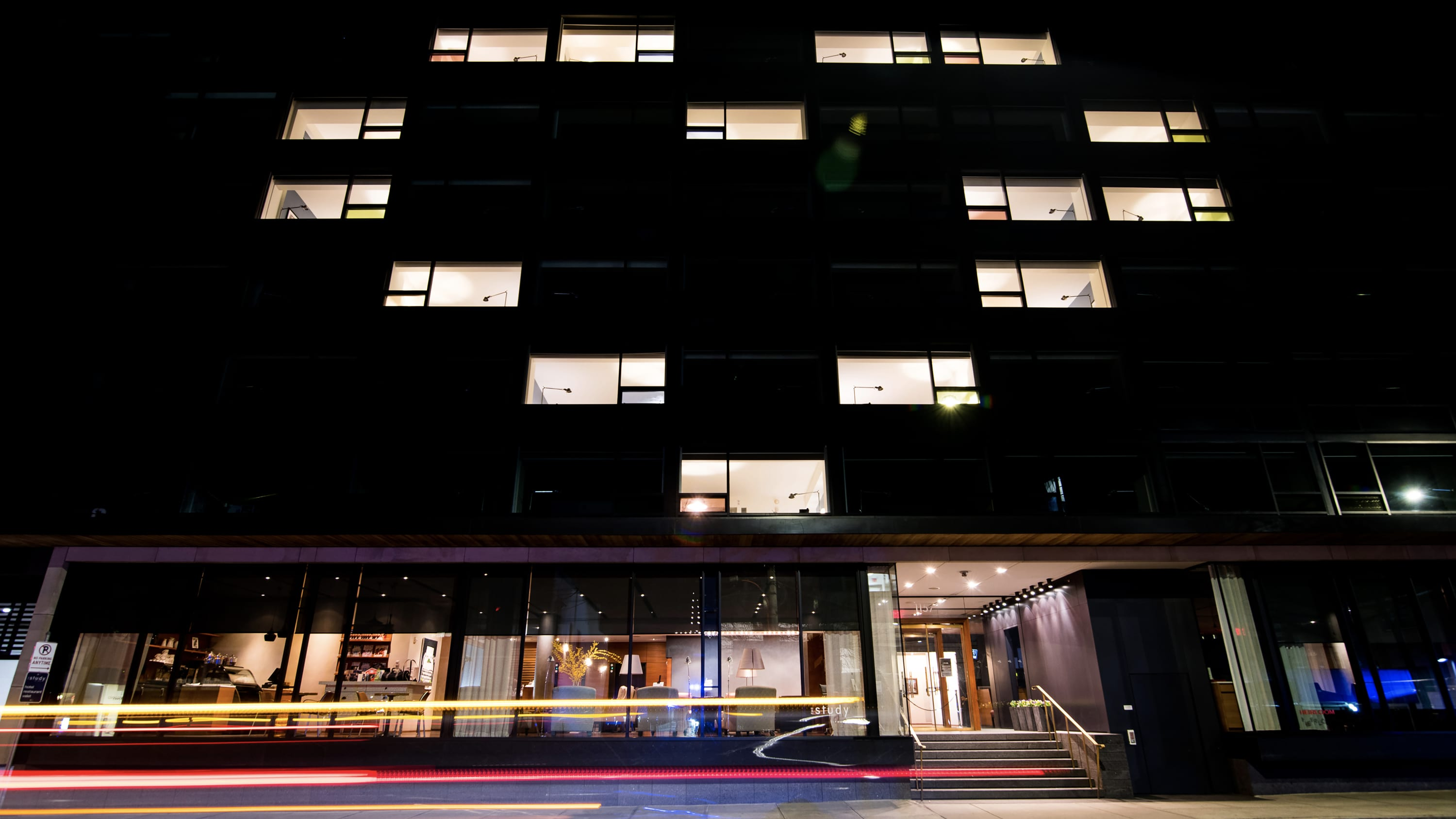 The Study at Yale hotel in New Haven lights up windows in a heart shape in support of health care workers during the COVID-19 pandemic