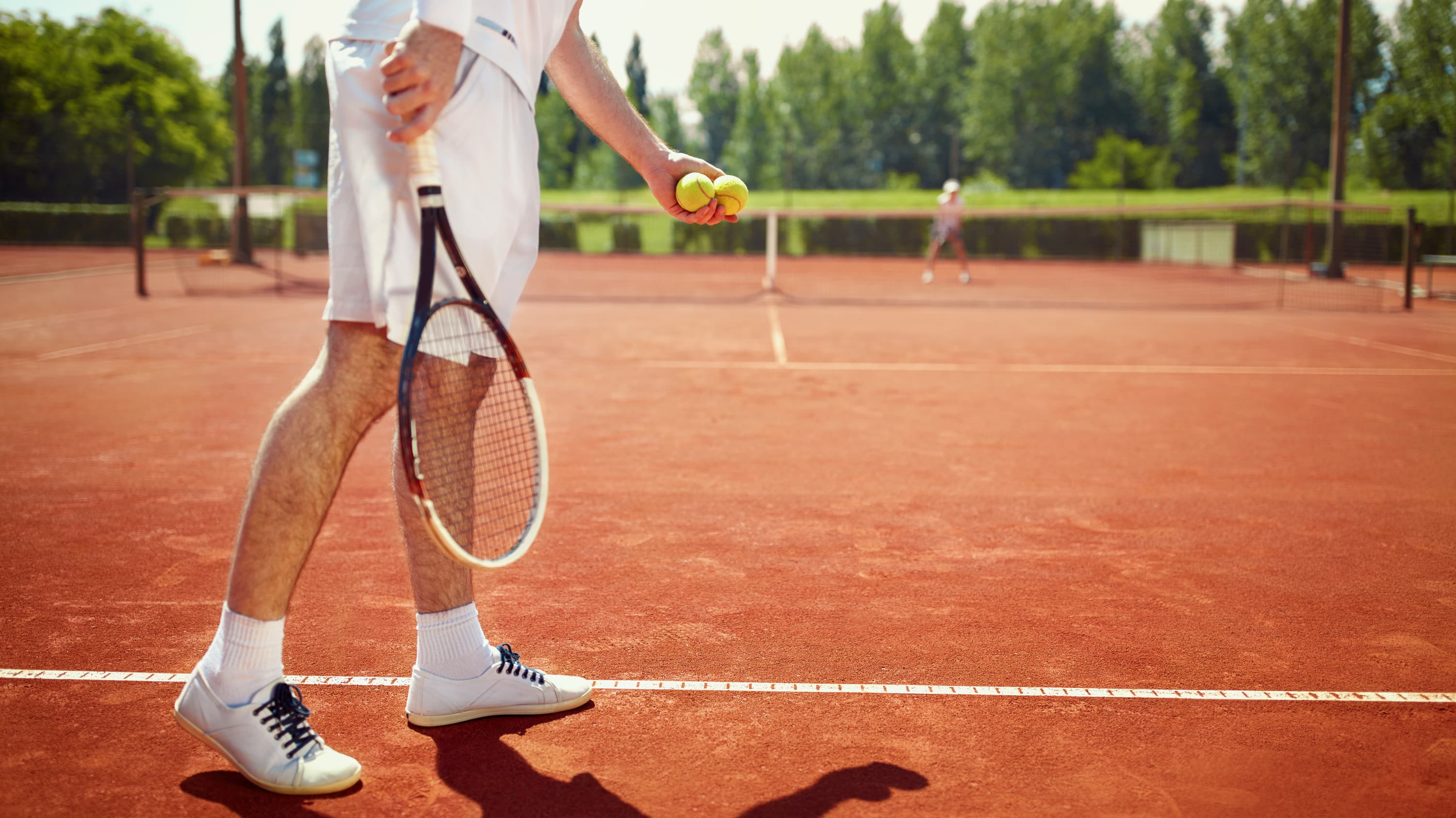 Legs of a tennis player, who may have lipodystrophy, a group of rare syndromes that causes a person to lose fat tissue on some parts of the body, while gaining it in others.