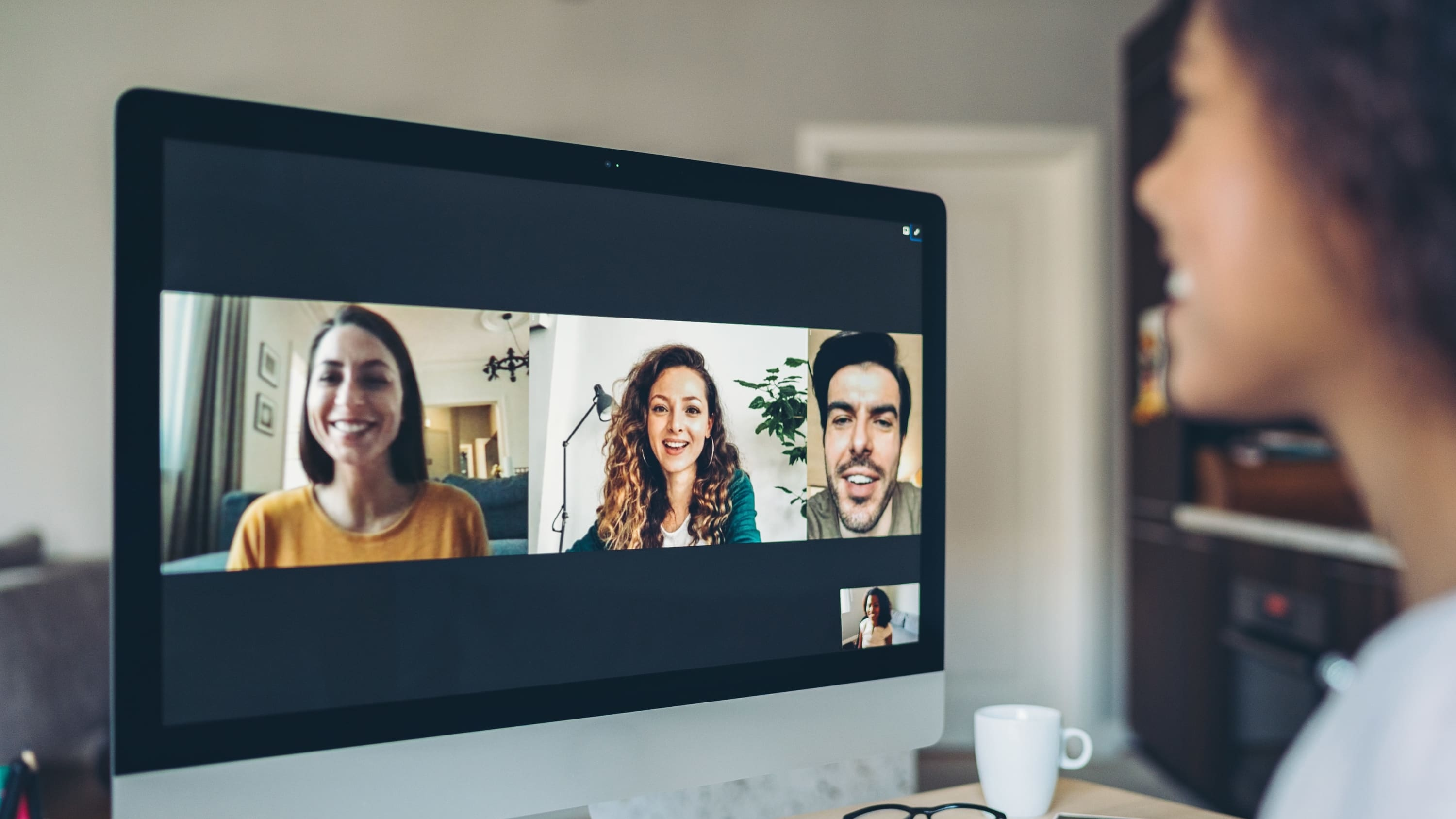 Several people chatting through a video call, highlighting the increased attention on cosmetic procedures such as botox and facelifts