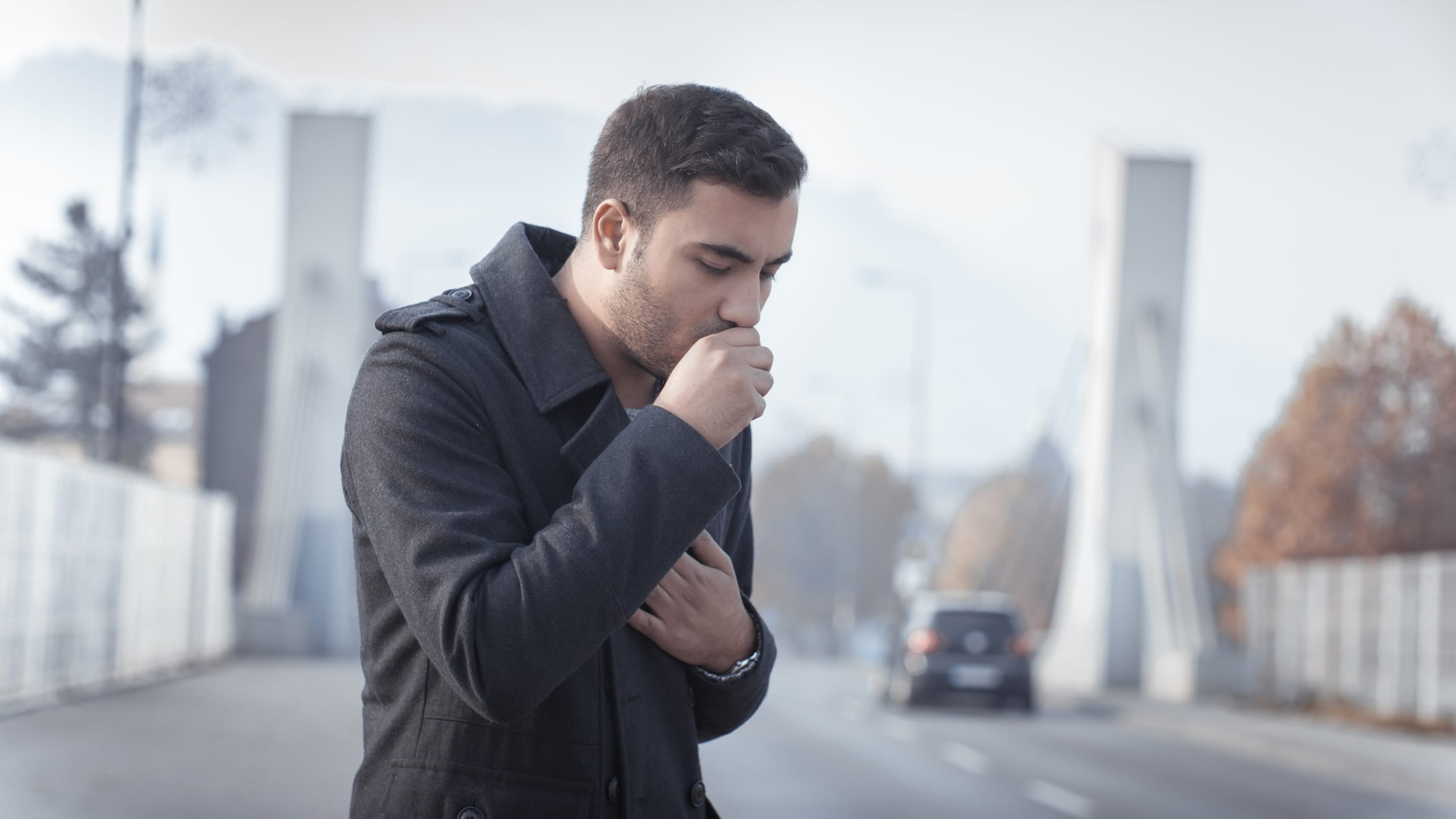 A coughing man may need a bronchoscopy to help diagnosis his illness.