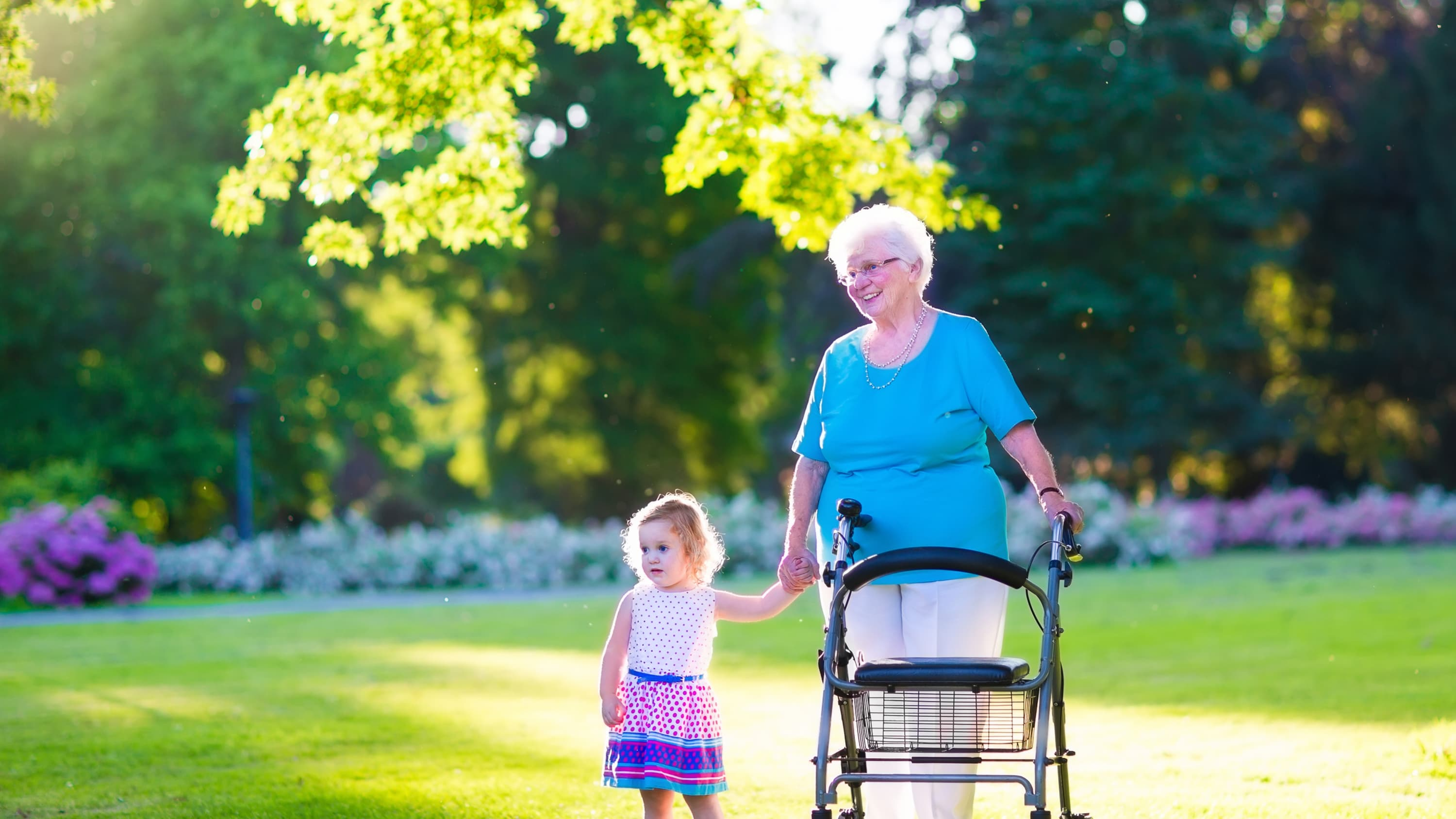 Happy senior lady with a walker or wheel chair and a little girl walk in a park, possibly after the woman had a hip fracture