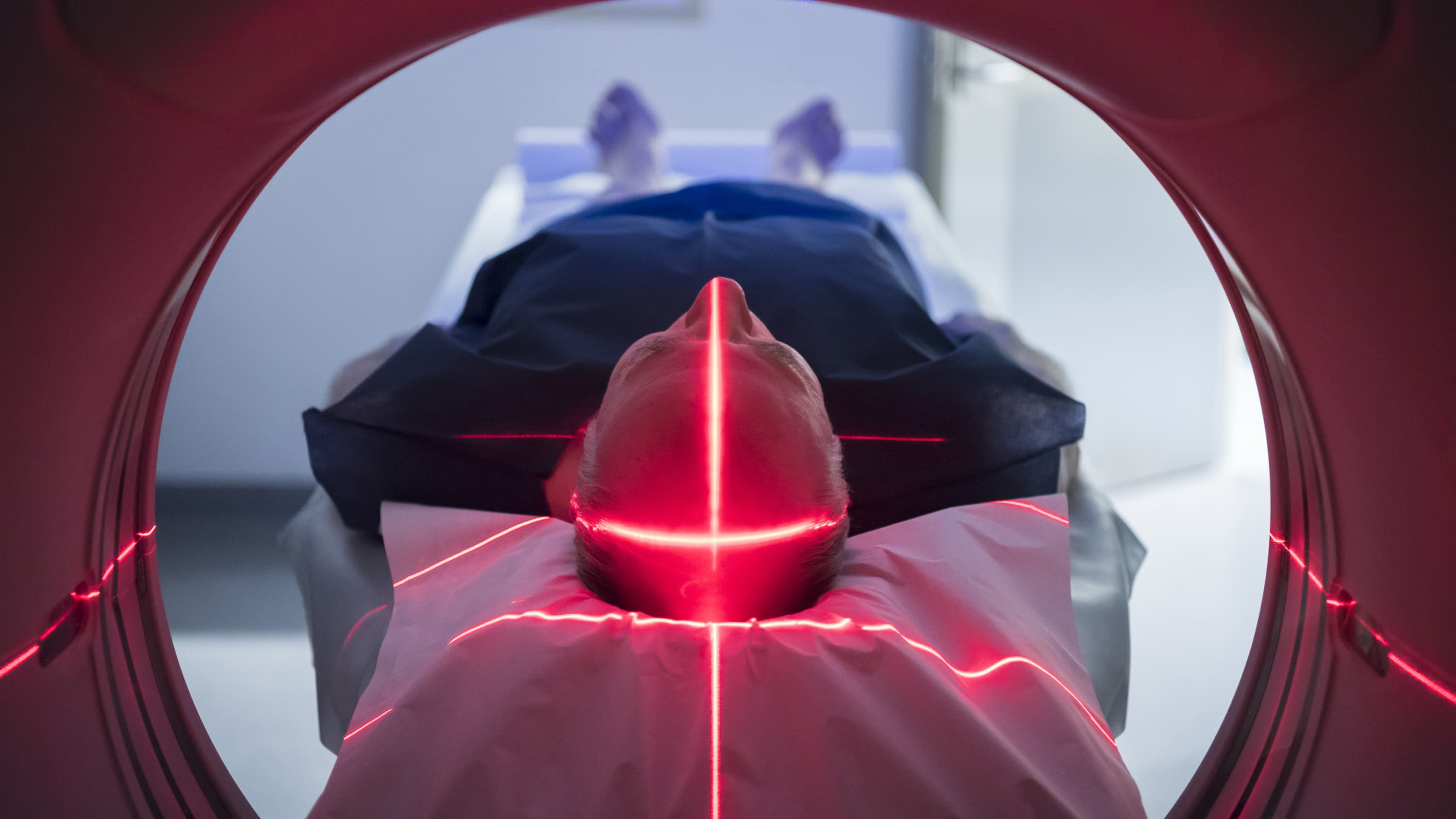 A patient in an MRI machine.
