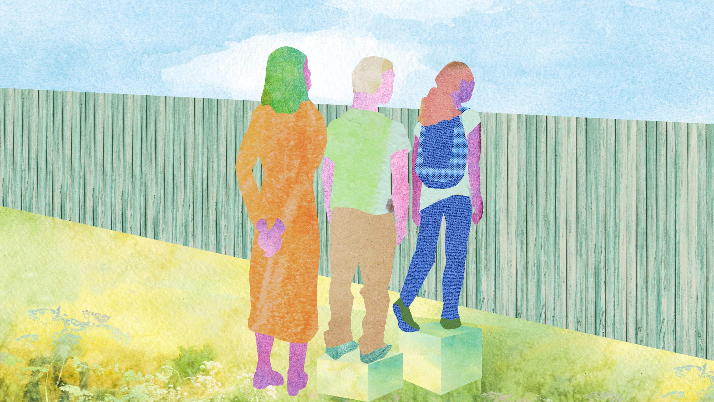Illustration showing three people looking over a fence, representing health equity
