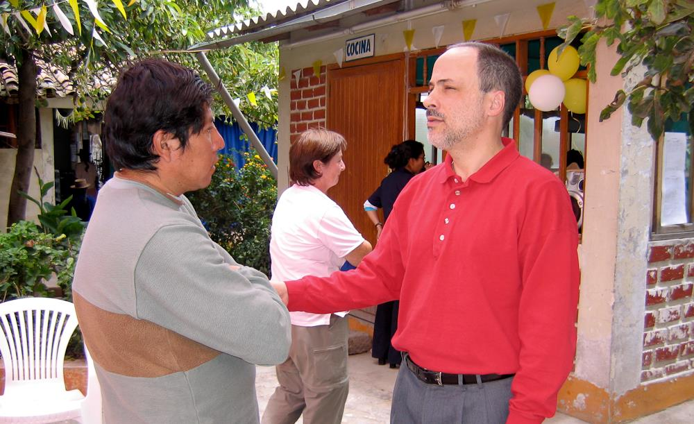 Mark Rego, MD, Lecturer in Psychiatry, Yale School of Medicine (right) with patient in Ayacucho, Peru