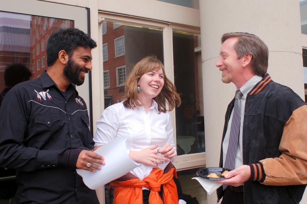 Paul Kalanithi and his future wife, Lucy Goddard, celebrated on Match Day in 2007 with faculty member Stephen Huot.