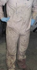 Dirty work clothes