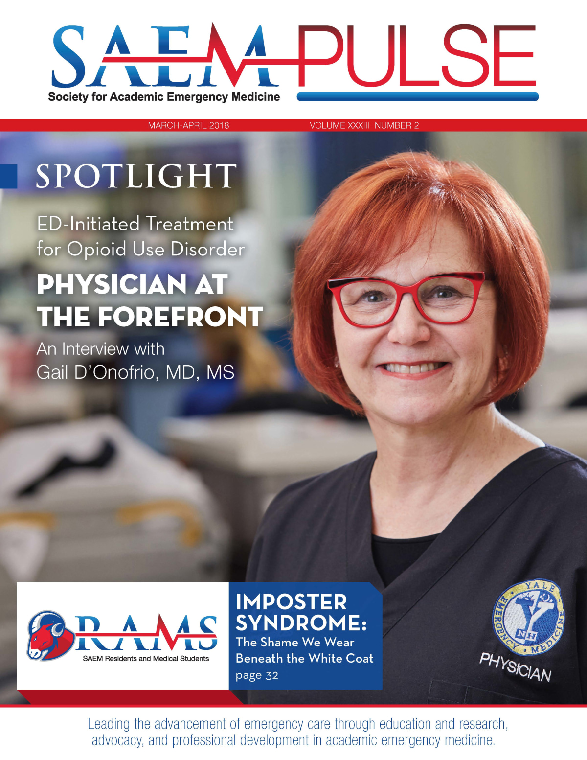 """SAEM Pulse Cover article: """"Physician at the Forefront"""" an interview with Gail D'Onofrio"""