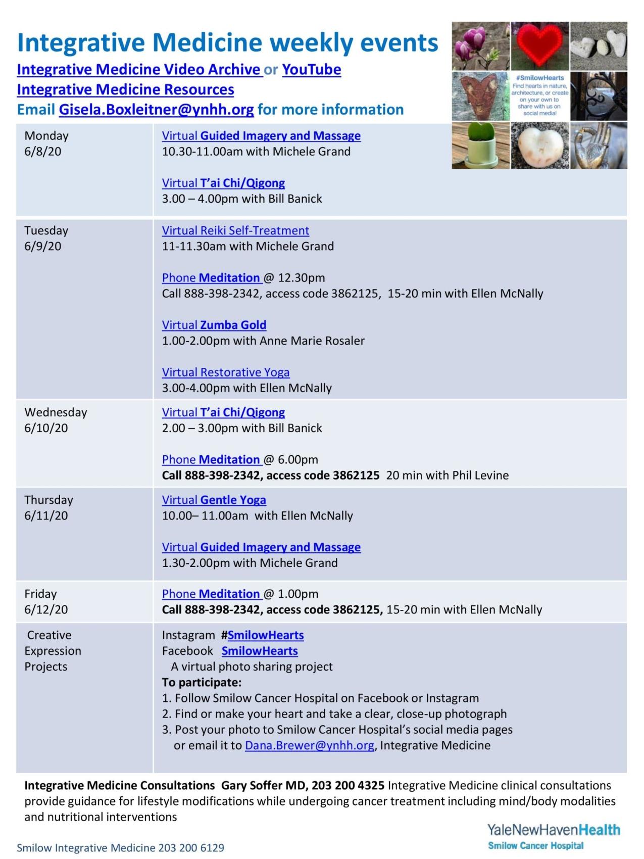 calendar of events for integrative medicine