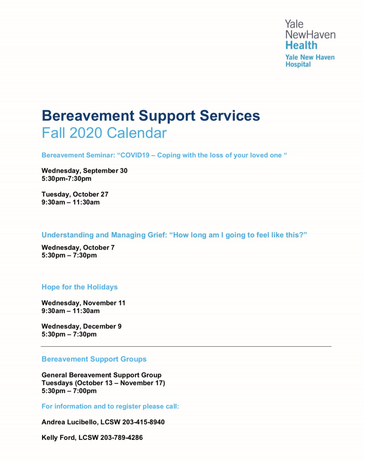 flyer for bereavement support.