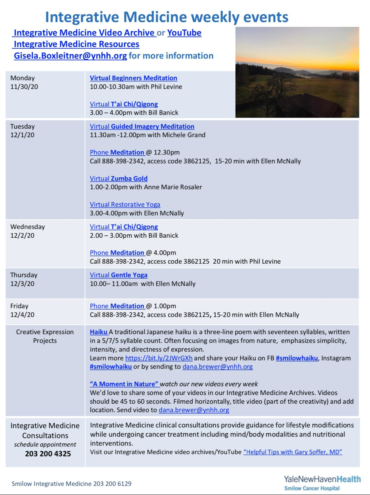 calendar of events for integrative medicine