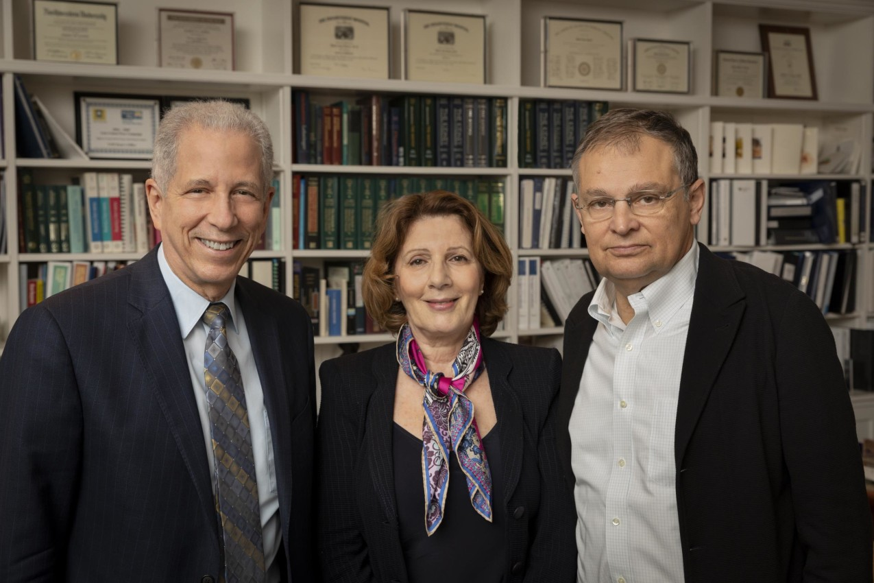 (l-r): Dean Robert J. Alpern welcomes Dragana and Predrag Dostanic, who have pledged to leave their full estate to the medical school in memory of their daughter Iva Dostanic, who succumbed to cancer at age 35 while a resident and research fellow.