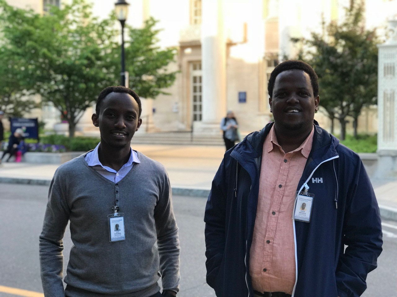 Drs. Ivan Rukundo and Erick Mbuguje in front of Yale Medical School