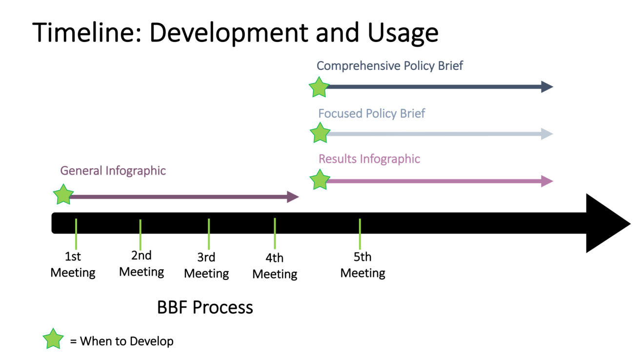 Timeline: Development and Usage. 1st Meeting: General Infographic; between 4th and 5th Meeting - Comprehensive Policy Brief, Focused Policy Brief, Results Infographic