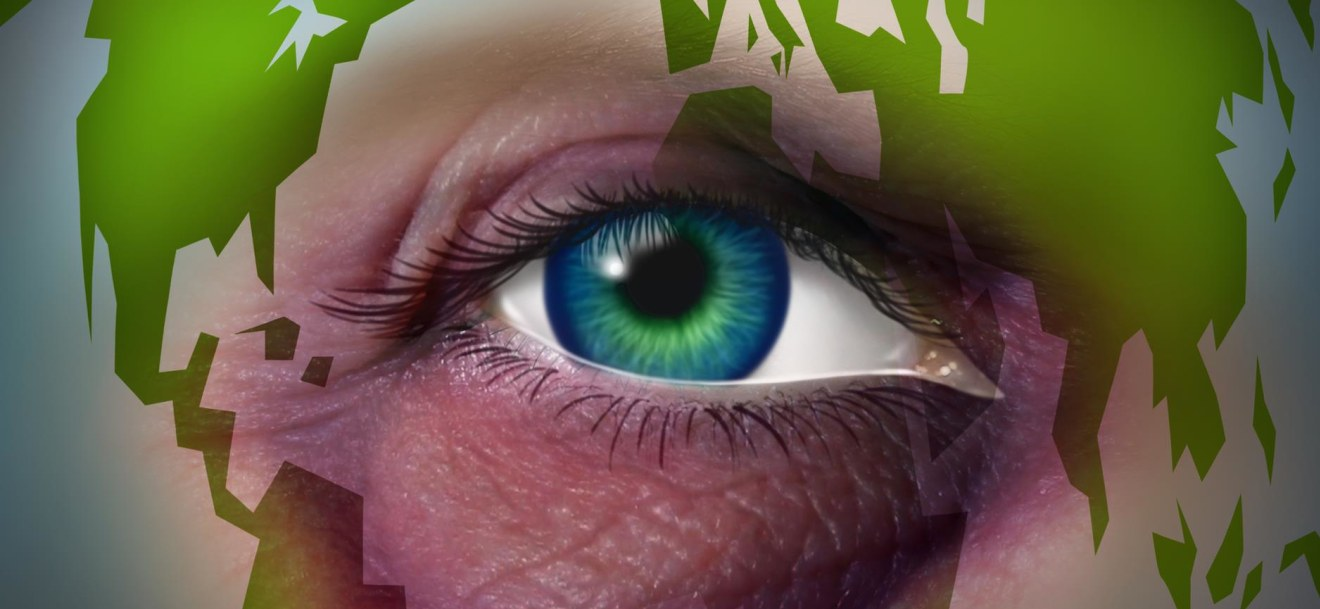 Global domestic violence and abusing mother earth concept with a violent bruised black eye on a human face with a world map as a symbol of injury to the environment and international law for the protection of women and human rights.