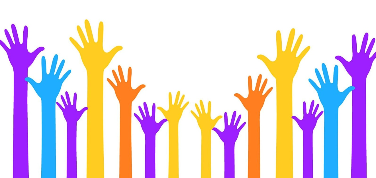 Raised hands of different heights and colors