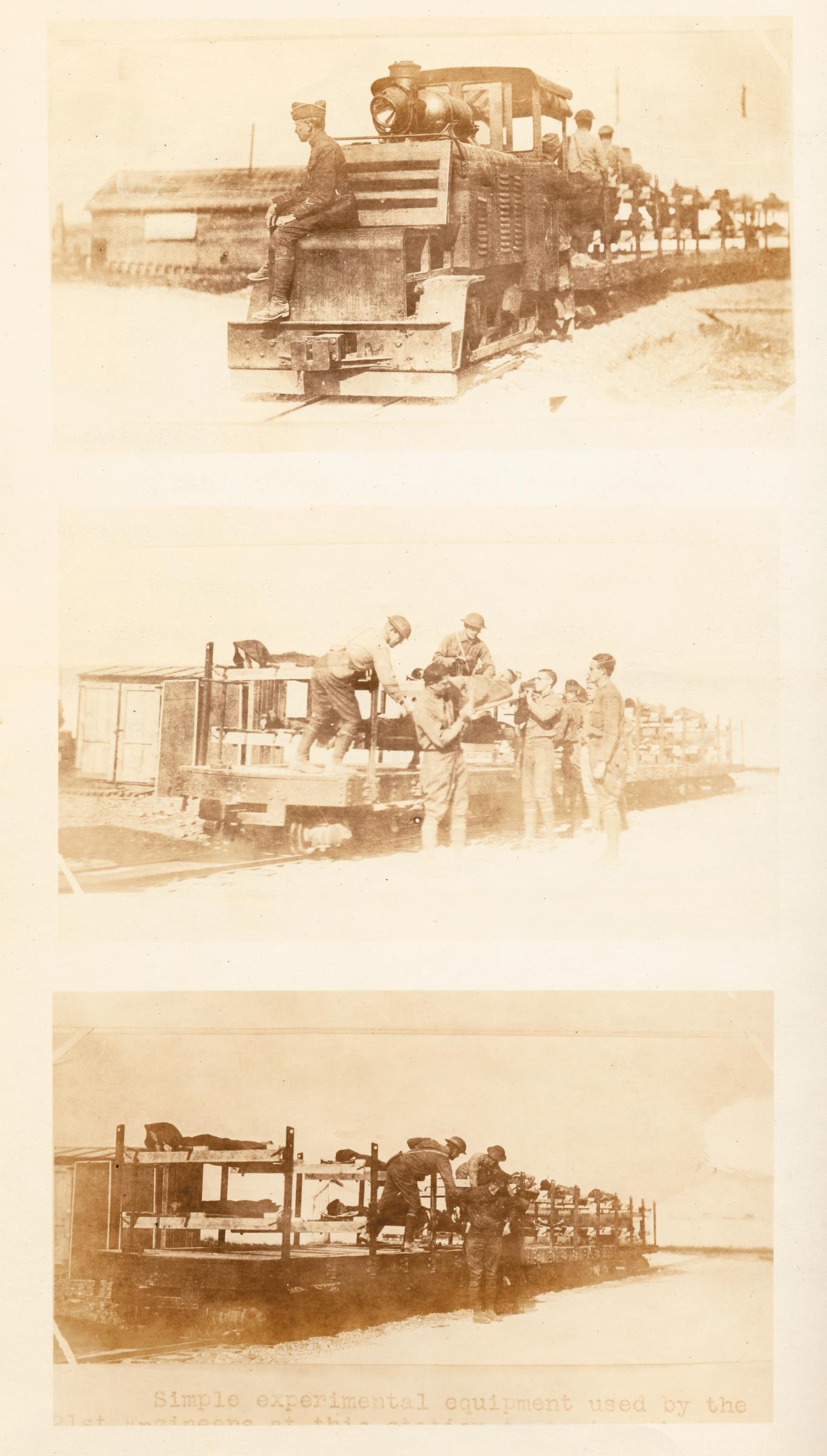 Tracks of narrow-gauge railroads, with open cars, ran directly from the front to the receiving wards of French hospitals and some units such as Yale Mobile Operating Unit No. 39.