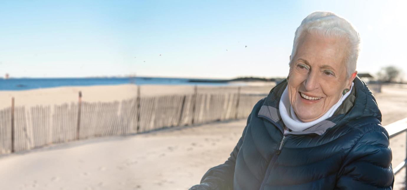 lung cancer survivor Anita by the ocean