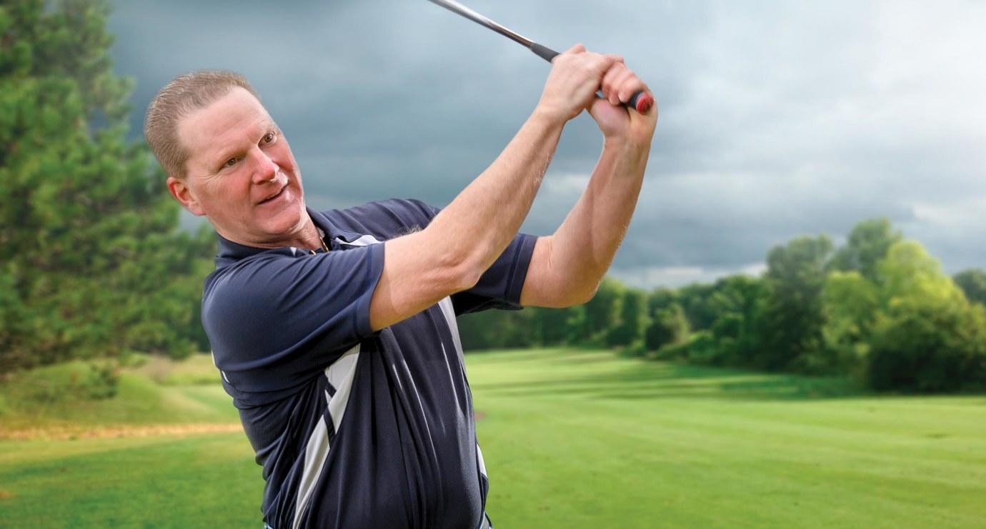Bob Amendola swinging a golf club