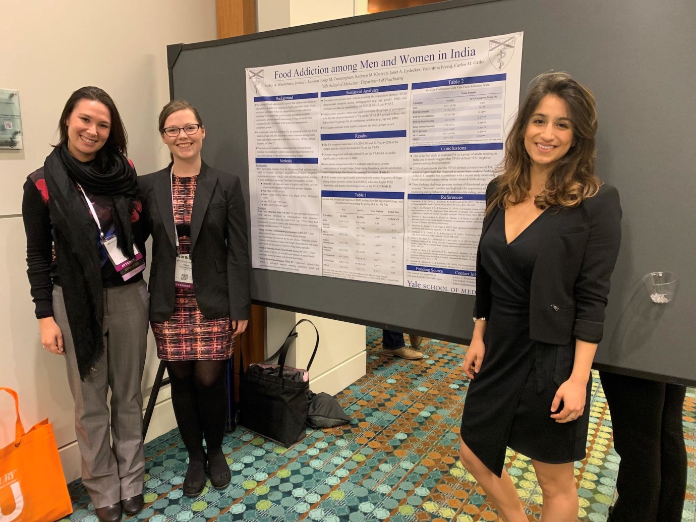 """Food Addiction among Men and Women in India,"" winner of the Diversity Section award at The Obesity Society conference in Nashville, TN. Left to right: Jessica Lawson, PhD, Paige Cunningham, BS '18, Kathy Khalvati '20."