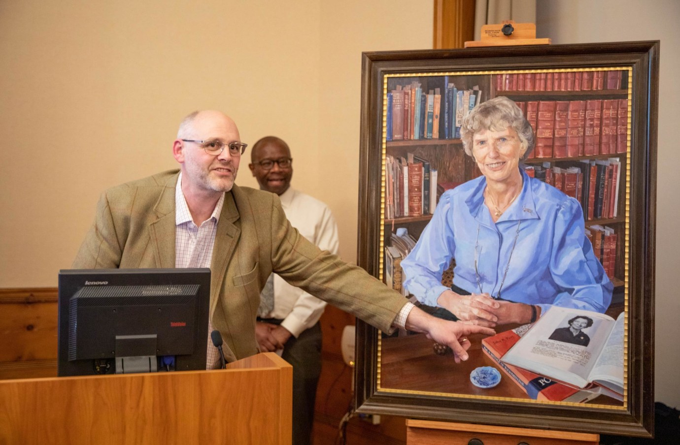 Alastair Adams and Darin Latimore at the unveiling of the portrait of Dorothy Horstmann, MD
