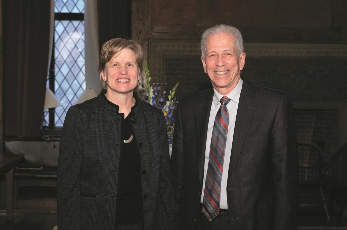 Dean Nancy J. Brown, MD, with former dean Robert J. Alpern, MD