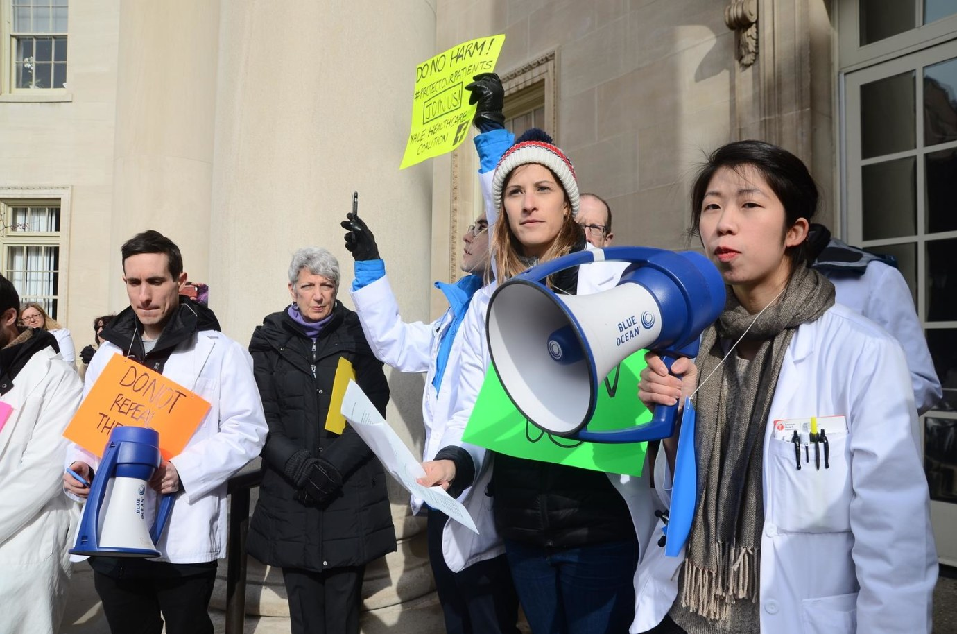 Priscilla Wang addressed a crowd of students and faculty on January 30, a national Day of Action to support the Affordable Care Act.