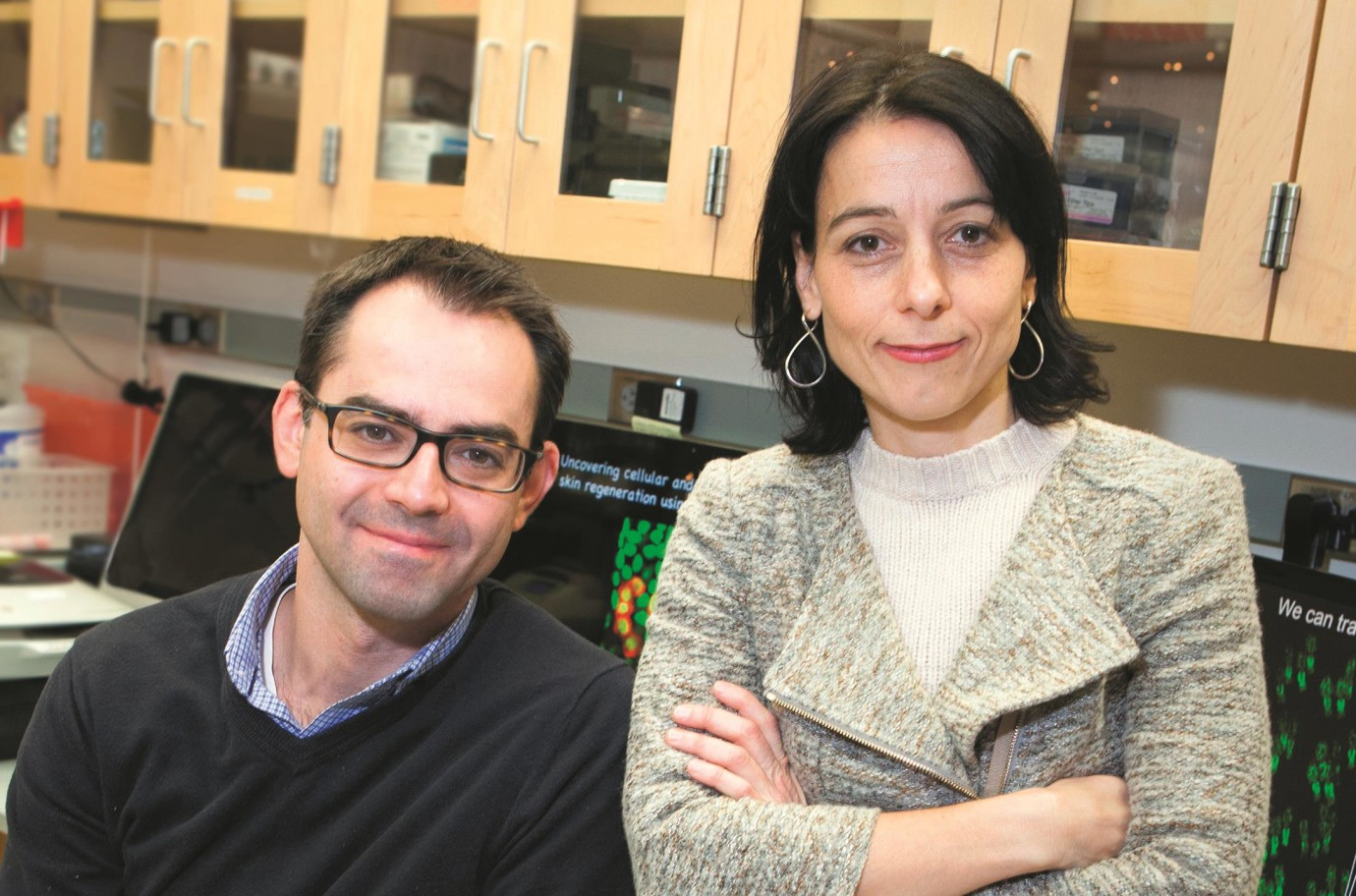 Panteleimon Rompolas (left) is a postdoctoral fellow in the lab of Valentina Greco (right).