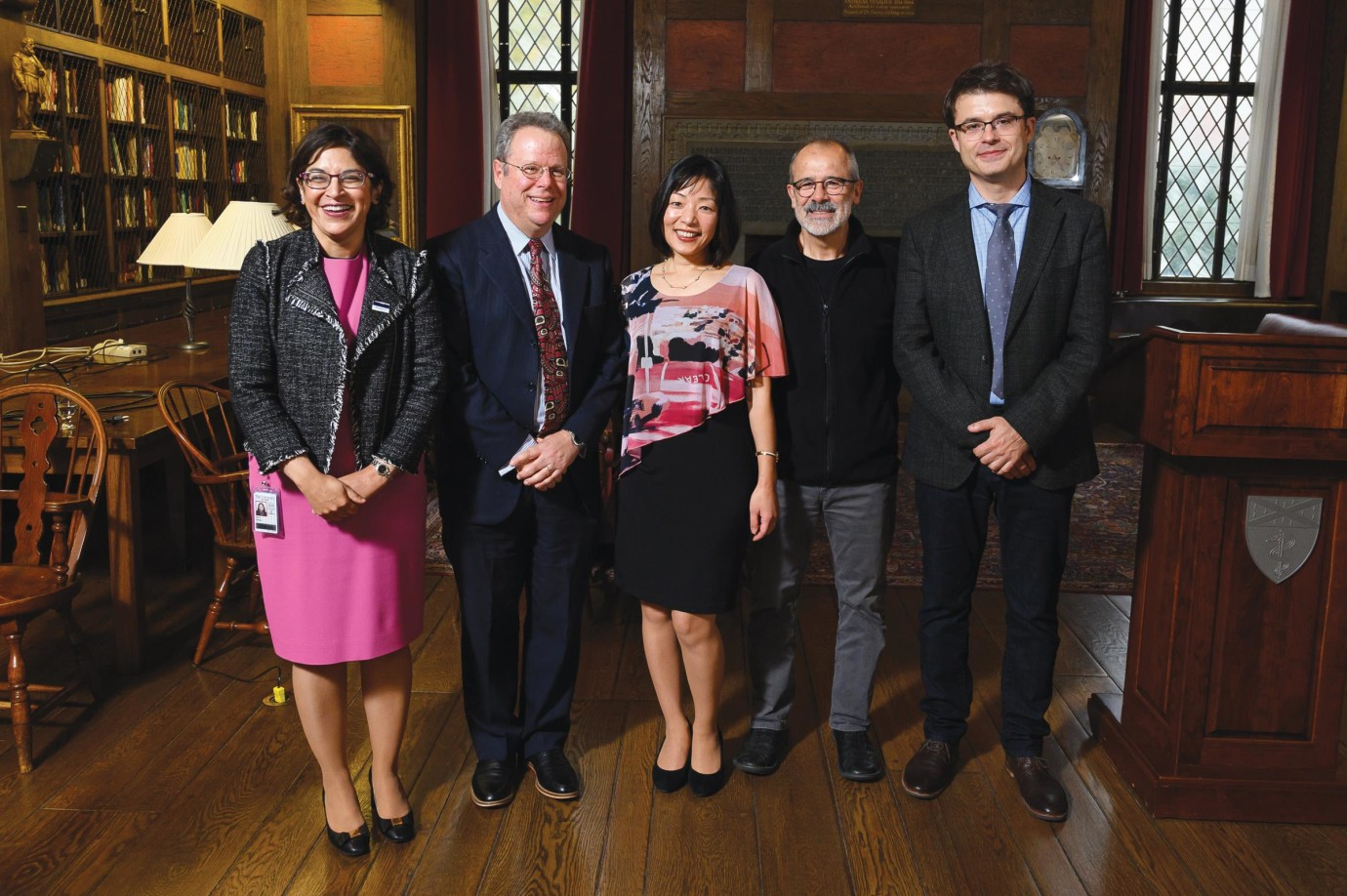 At a ceremony celebrating their selection to the National Academy of Medicine, (l-r): Nita Ahuja, Rafael Pérez-Escamilla, Akiko Iwasaki, Jorge Galán, and Nenad Sestan. Absent from photo: David Schatz.