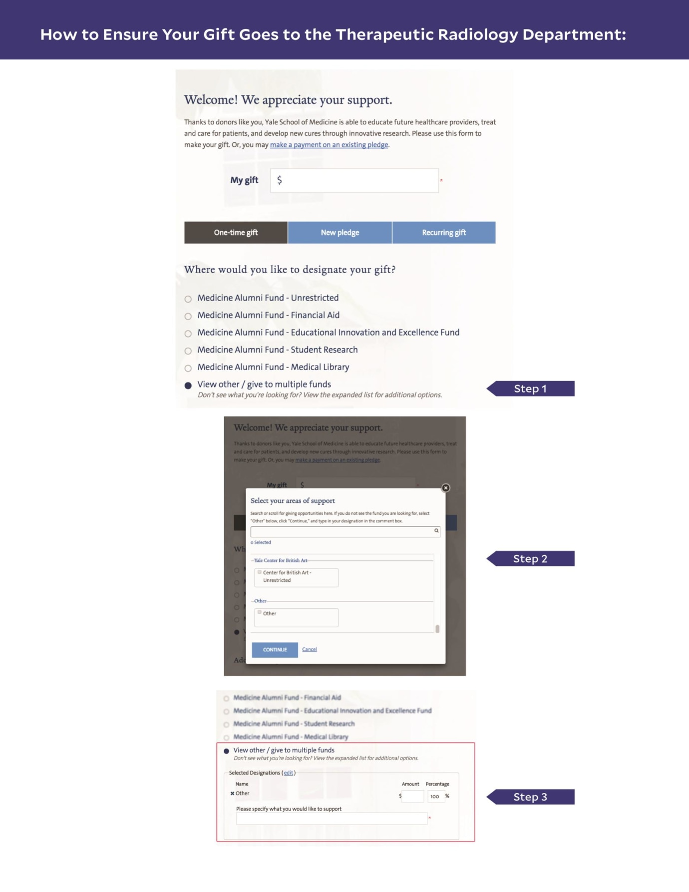 Screenshots of the Giving to Yale web pages to ensure your gift goes to Therapeutic Radiology.